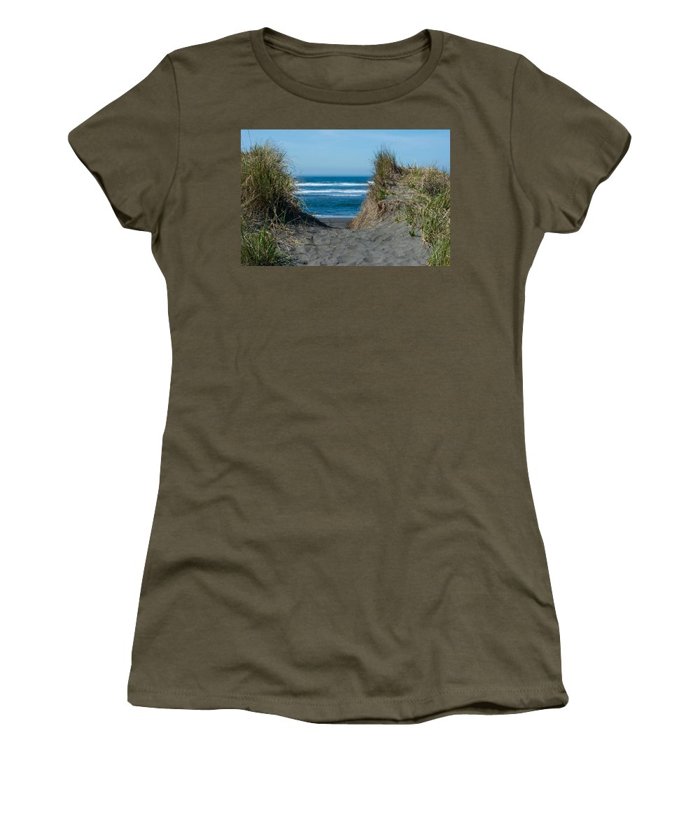 Beach Women's T-Shirt (Athletic Fit) featuring the photograph Pacific Trail Head by Tikvah's Hope