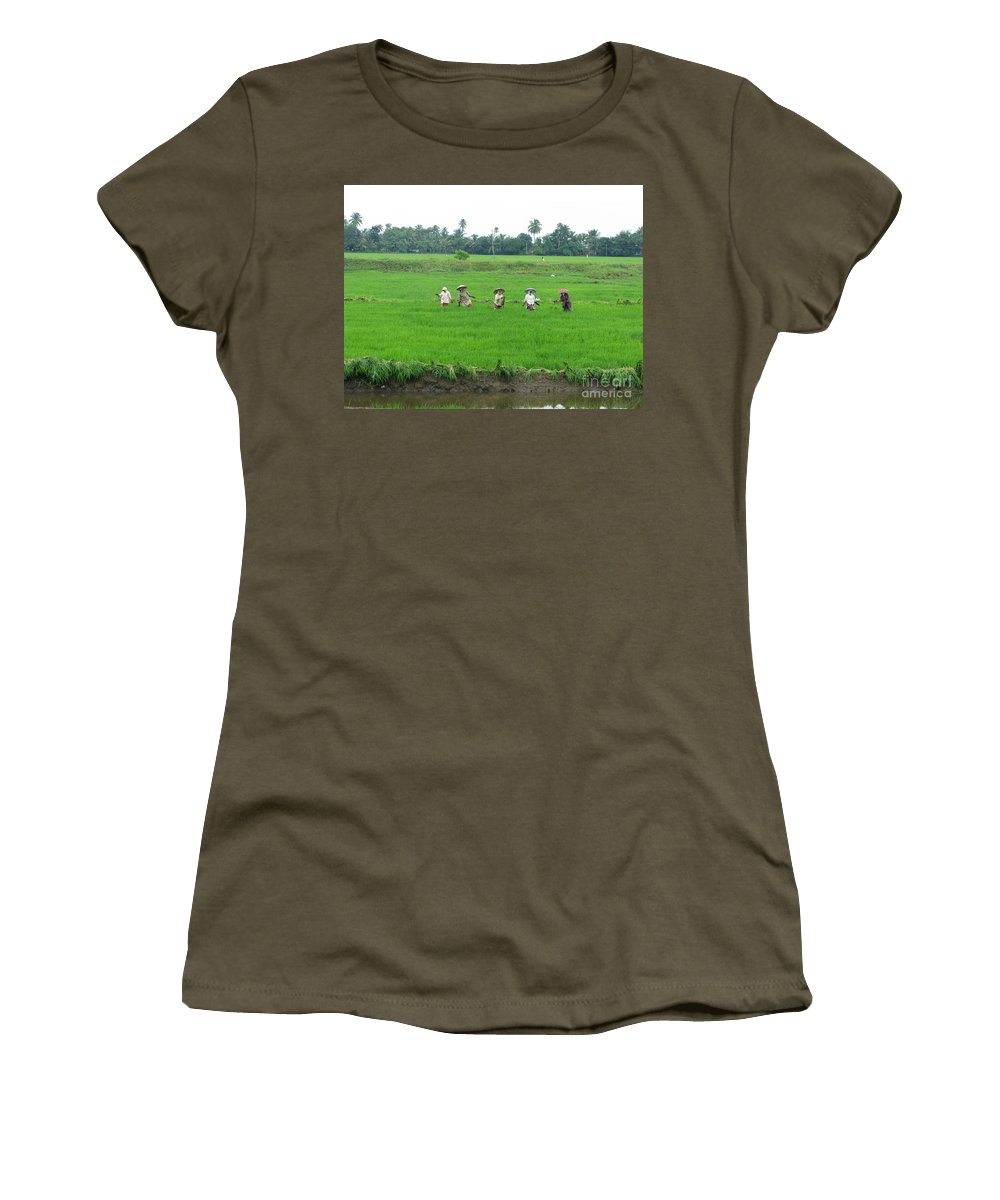 Paddy Field Workers Women's T-Shirt featuring the photograph Paddy Field Workers by Mini Arora