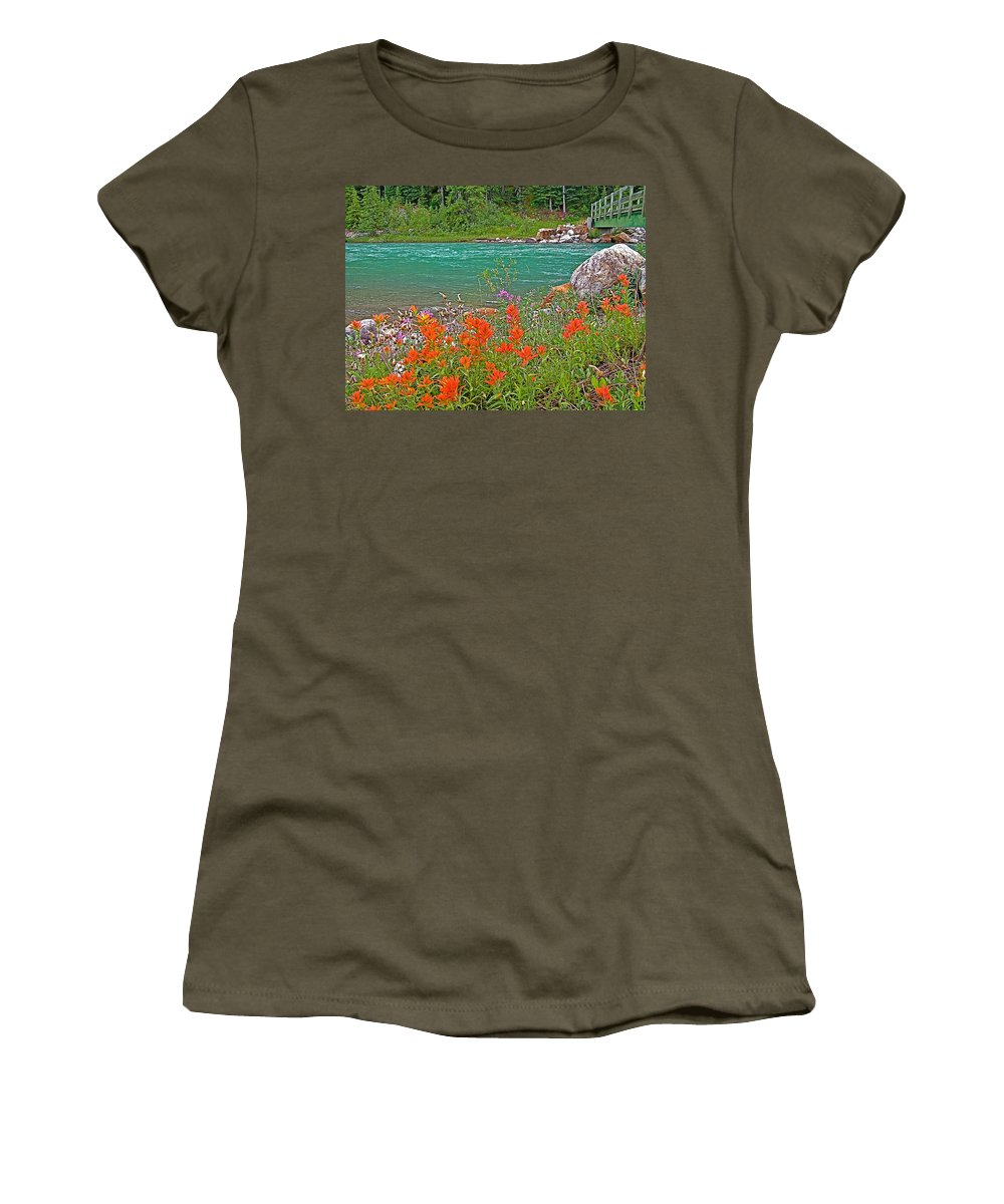 Paintbrush By Bow River In Banff National Park Women's T-Shirt featuring the photograph Paintbrush By Bow River In Banff Np-ab by Ruth Hager