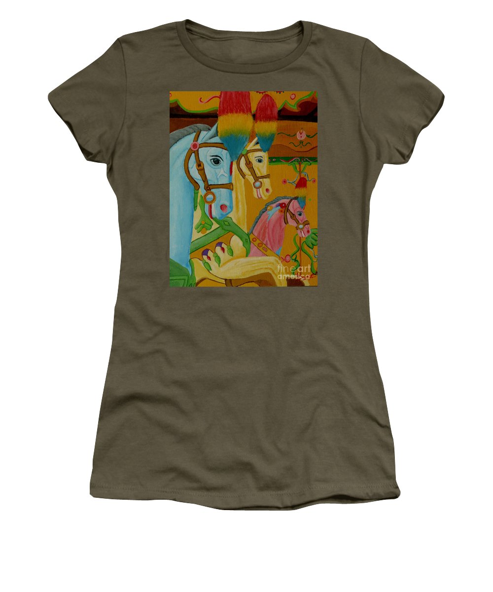 Carousel Women's T-Shirt (Athletic Fit) featuring the painting Painted Ponies by Anthony Dunphy