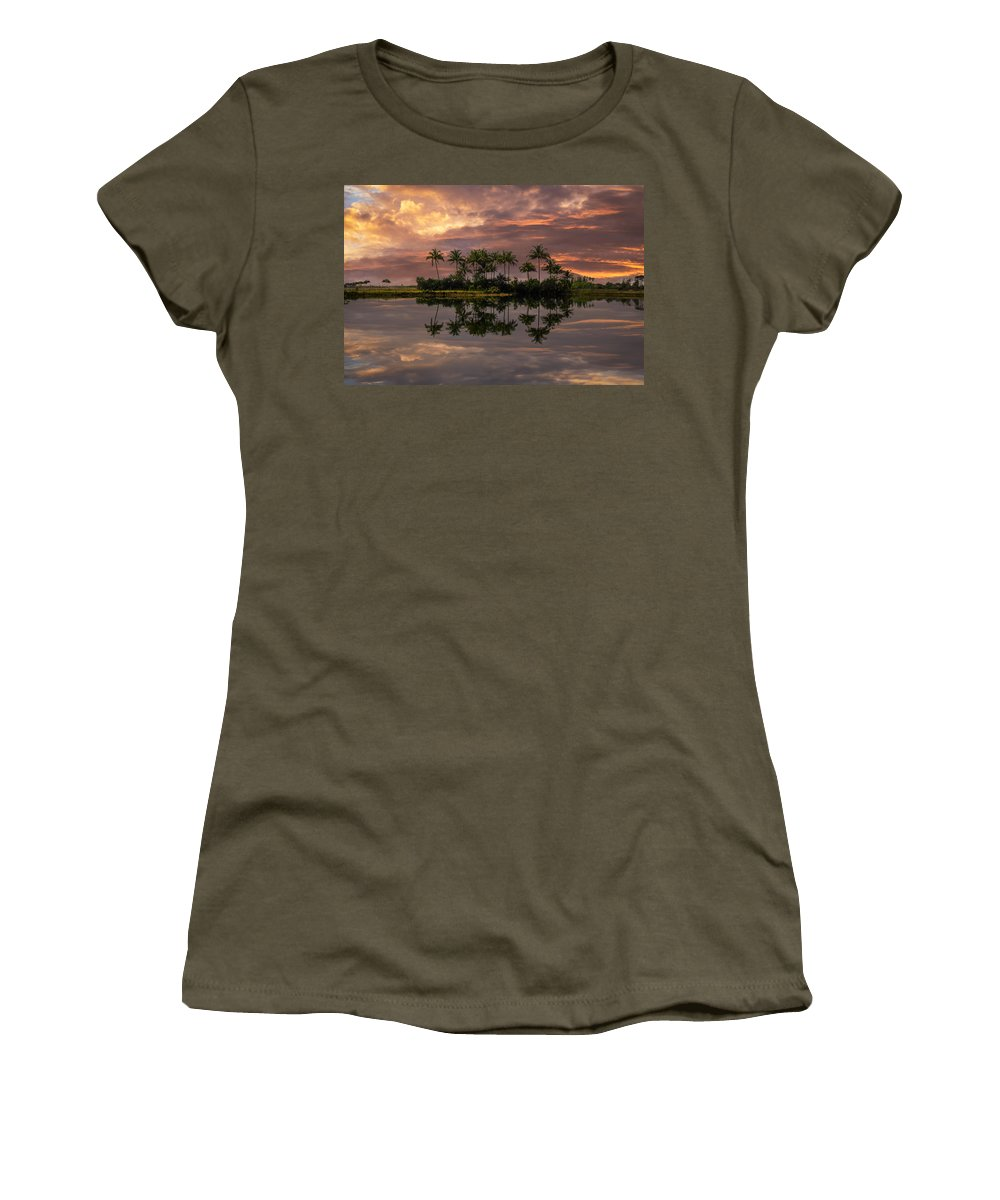 Boats Women's T-Shirt featuring the photograph Palm Trees At Sunset by Debra and Dave Vanderlaan