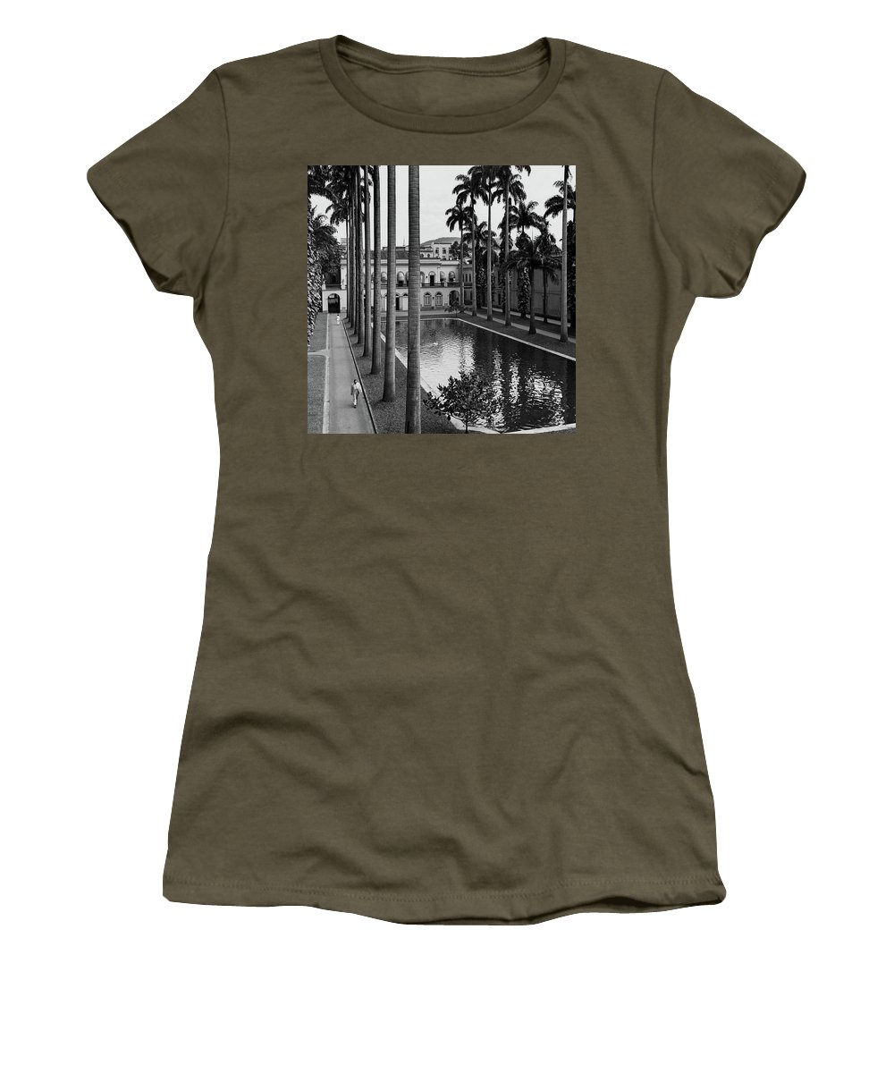 Exterior Women's T-Shirt featuring the photograph Palm Trees Bordering A Pool by Luis Lemus