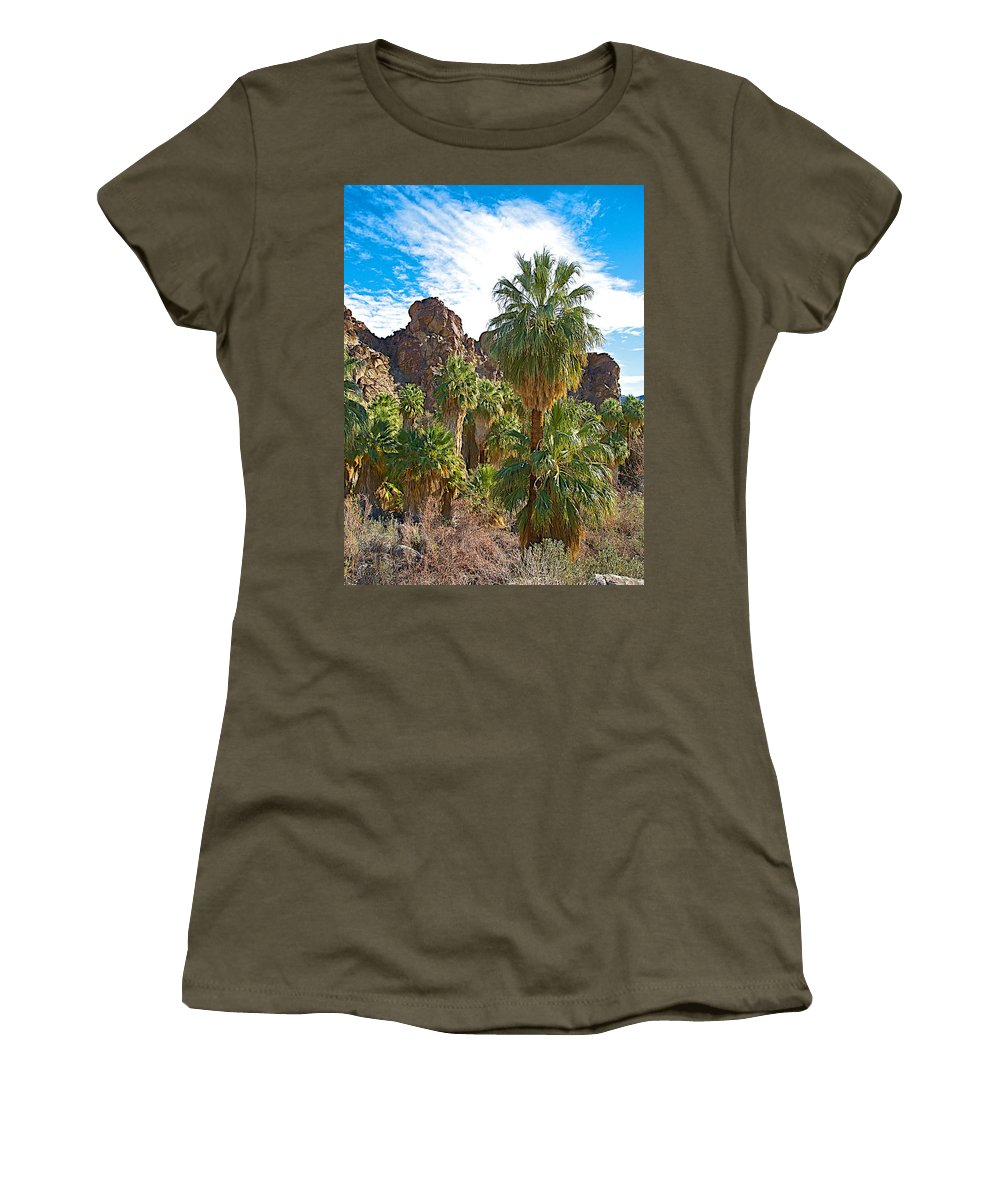 Palms Stand Tall In Andreas Canyon In Indian Canyons Women's T-Shirt featuring the photograph Palms Stand Tall In Andreas Canyon In Indian Canyons-ca by Ruth Hager