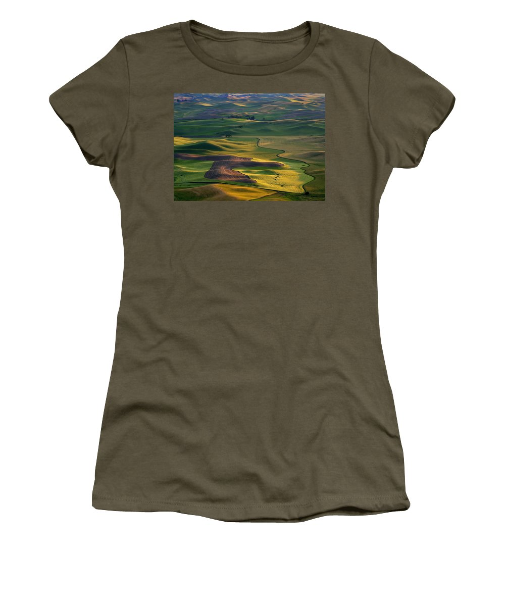 Palouse Women's T-Shirt featuring the photograph Palouse Shadows by Mike Dawson