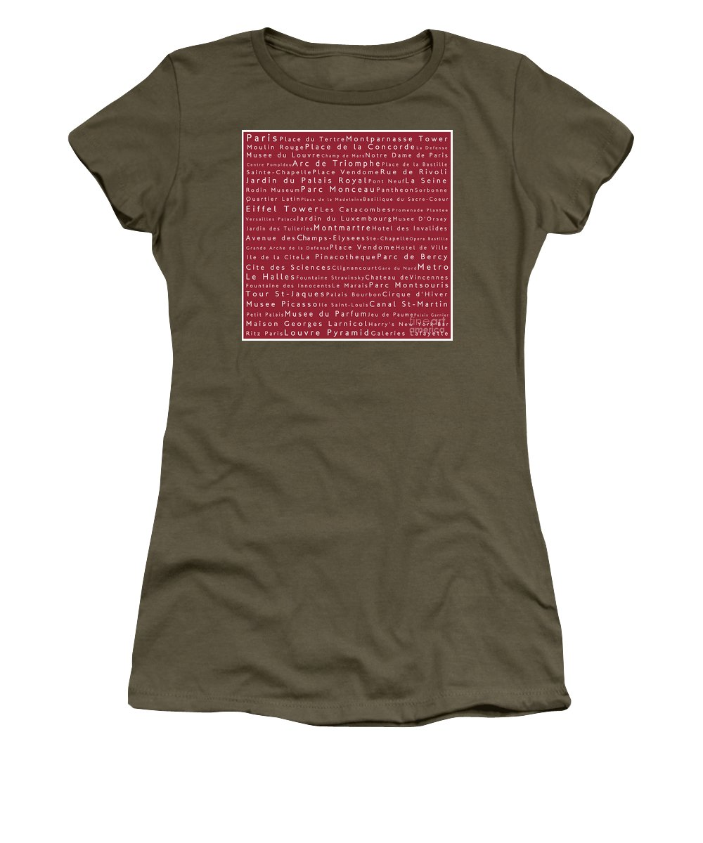 City Women's T-Shirt featuring the digital art Paris In Words Red by Sabine Jacobs