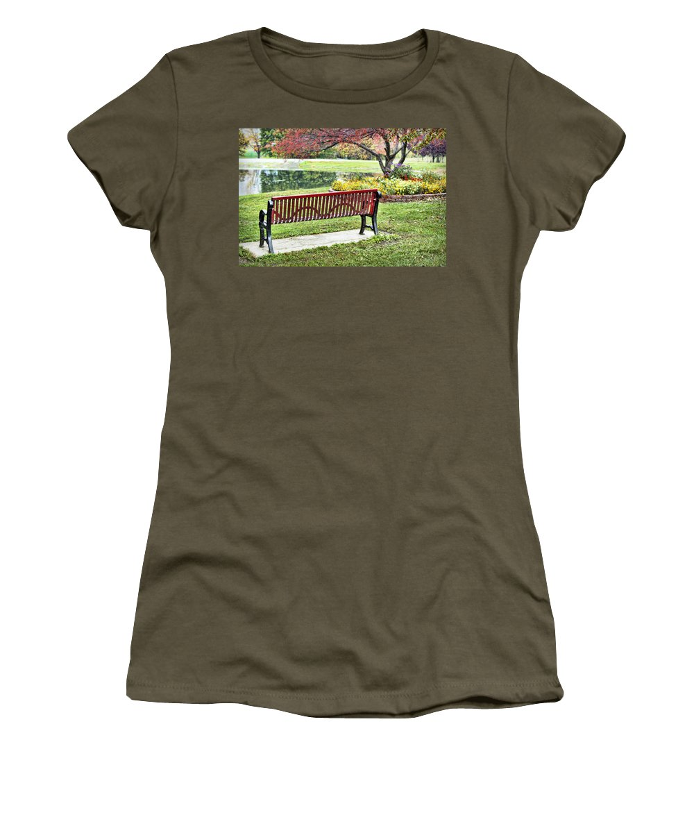Park Women's T-Shirt featuring the photograph Park Bench By The Pond by Cricket Hackmann