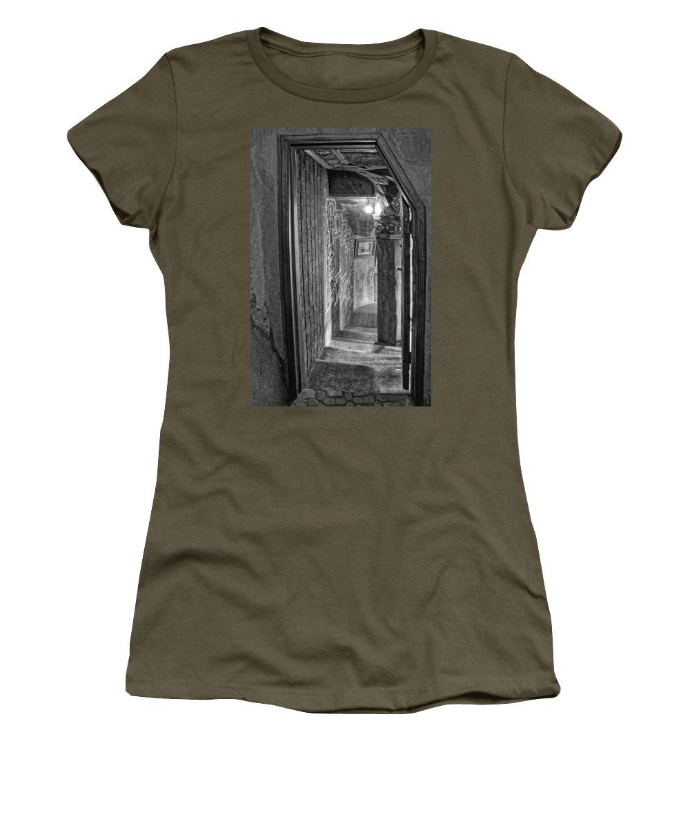 Passageway Women's T-Shirt featuring the photograph Passageway At Fonthill Castle by Dave Mills