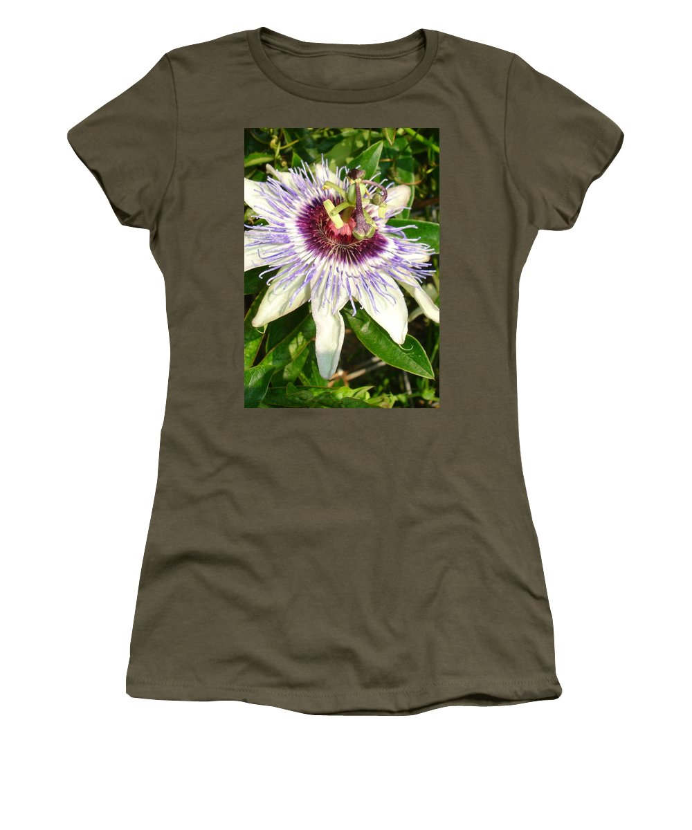 Flower Women's T-Shirt (Athletic Fit) featuring the photograph Passiflora Close Up With Garden Background by Taiche Acrylic Art