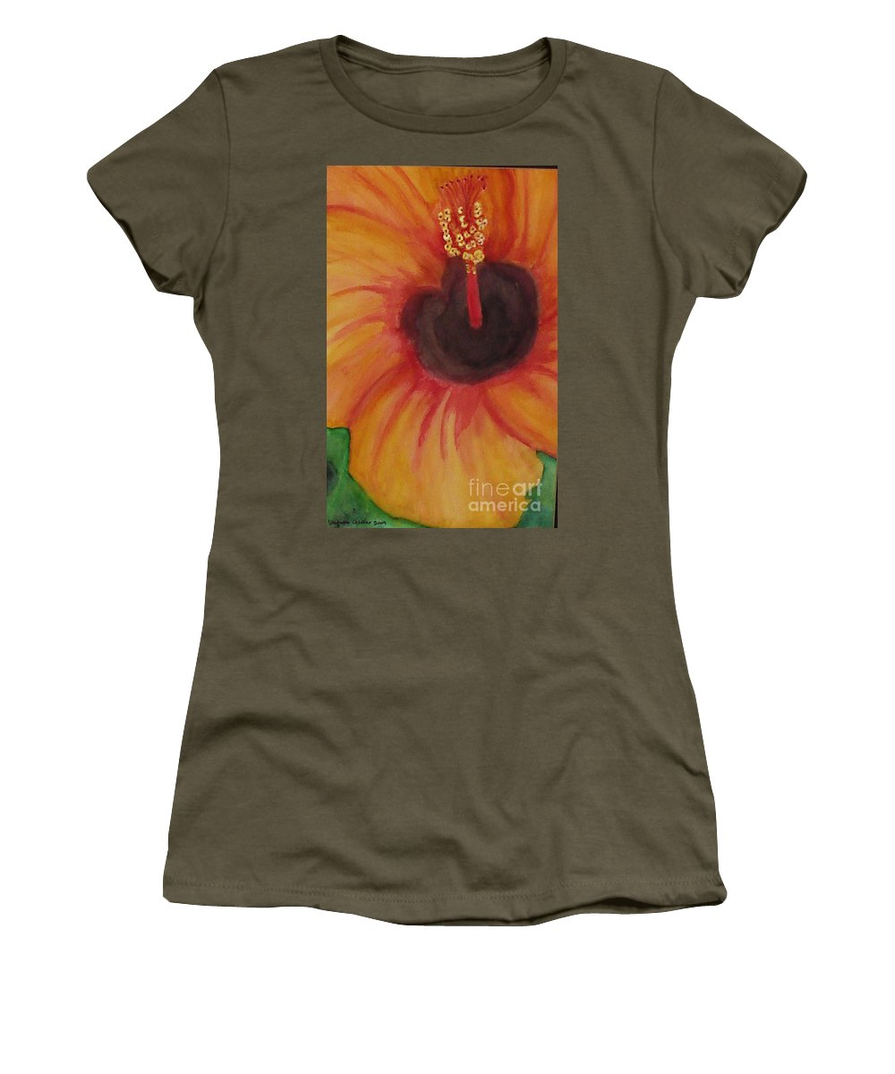 Water Color Flower Women's T-Shirt featuring the painting Passion Flower by Yael VanGruber