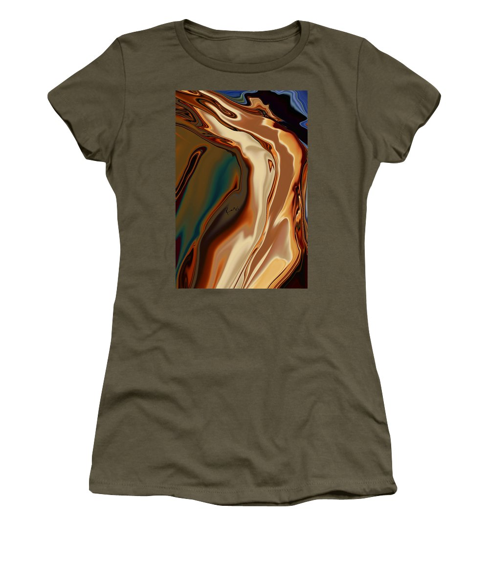 Abstract Women's T-Shirt (Athletic Fit) featuring the digital art Passionate Kiss by Rabi Khan