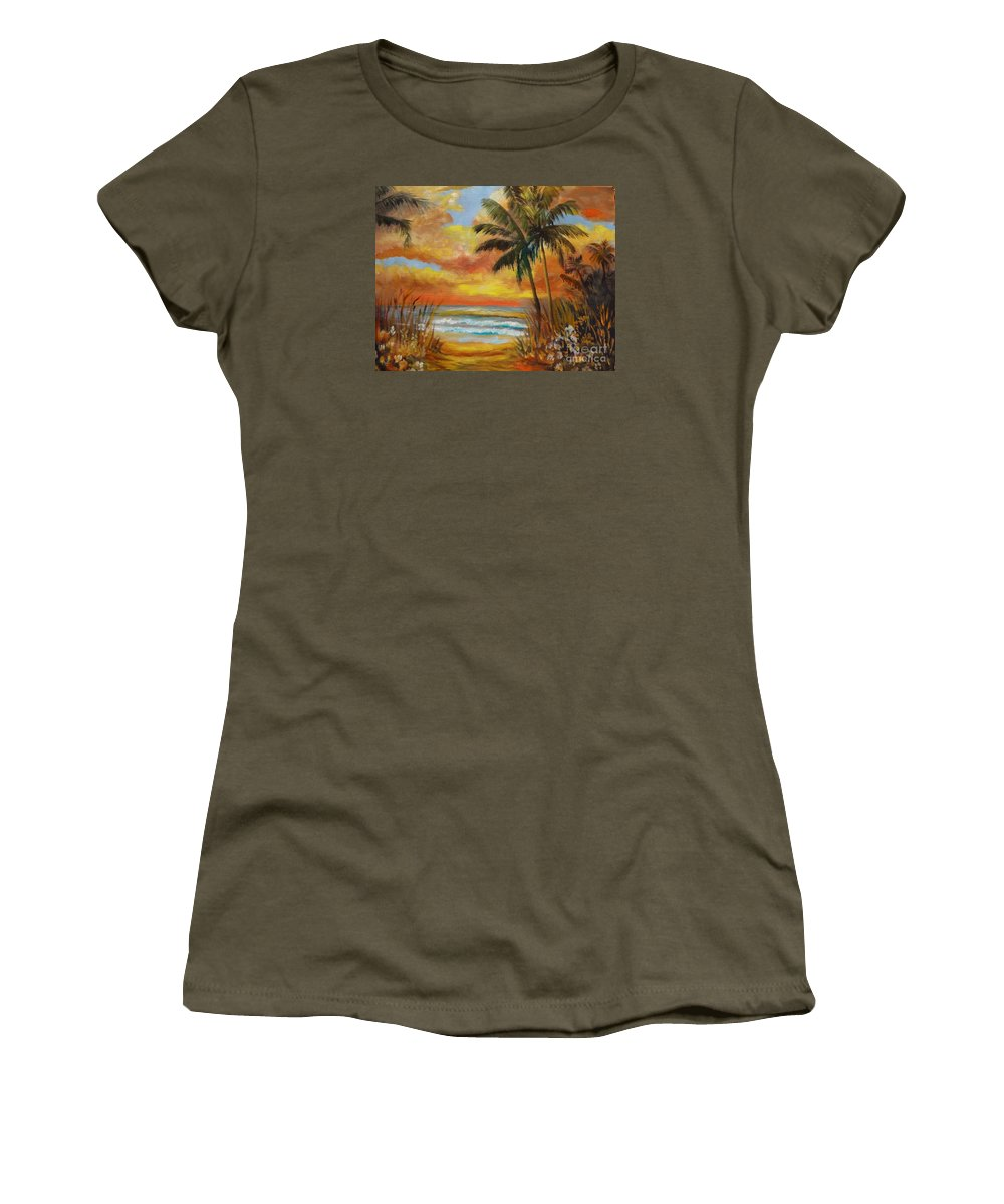 Tropical Sunset Print Women's T-Shirt featuring the painting Pathway To The Beach 11 by Jenny Lee