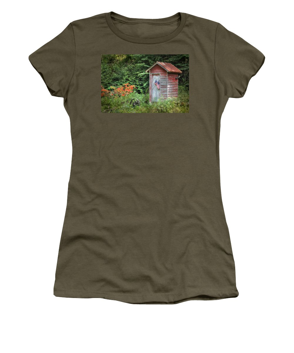 Outhouse Women's T-Shirt featuring the photograph Patriotic Outhouse by Lori Deiter