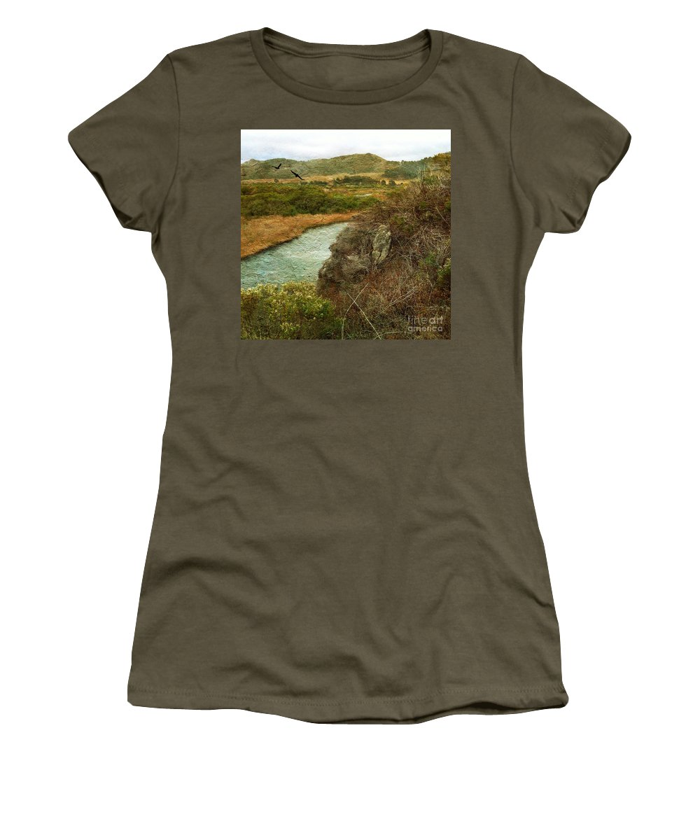Peaceful Women's T-Shirt (Athletic Fit) featuring the photograph Peaceful Estuary In Carmel by Charlene Mitchell