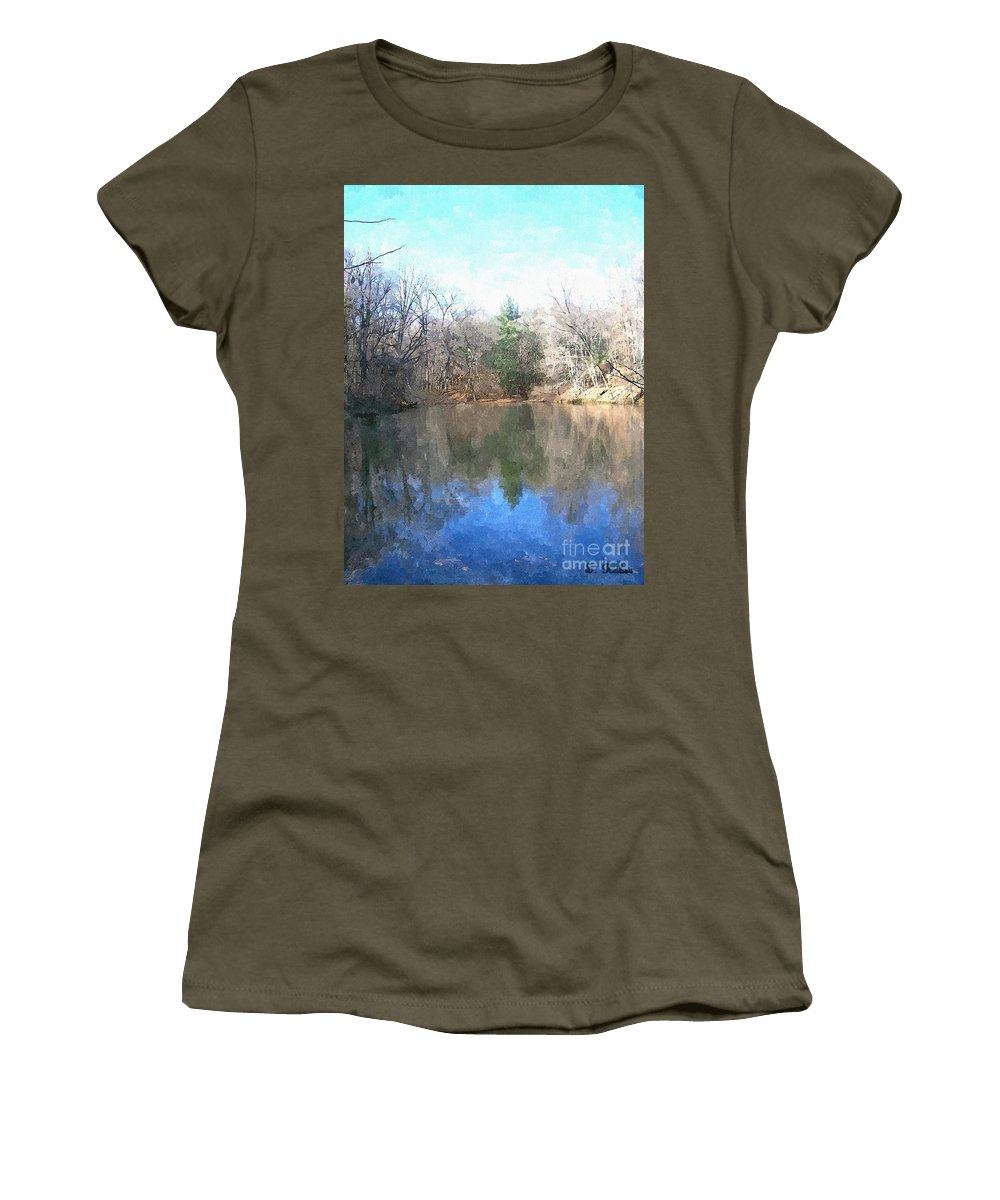 Pond Women's T-Shirt featuring the painting Peaceful Retreat 2 by Sara Raber