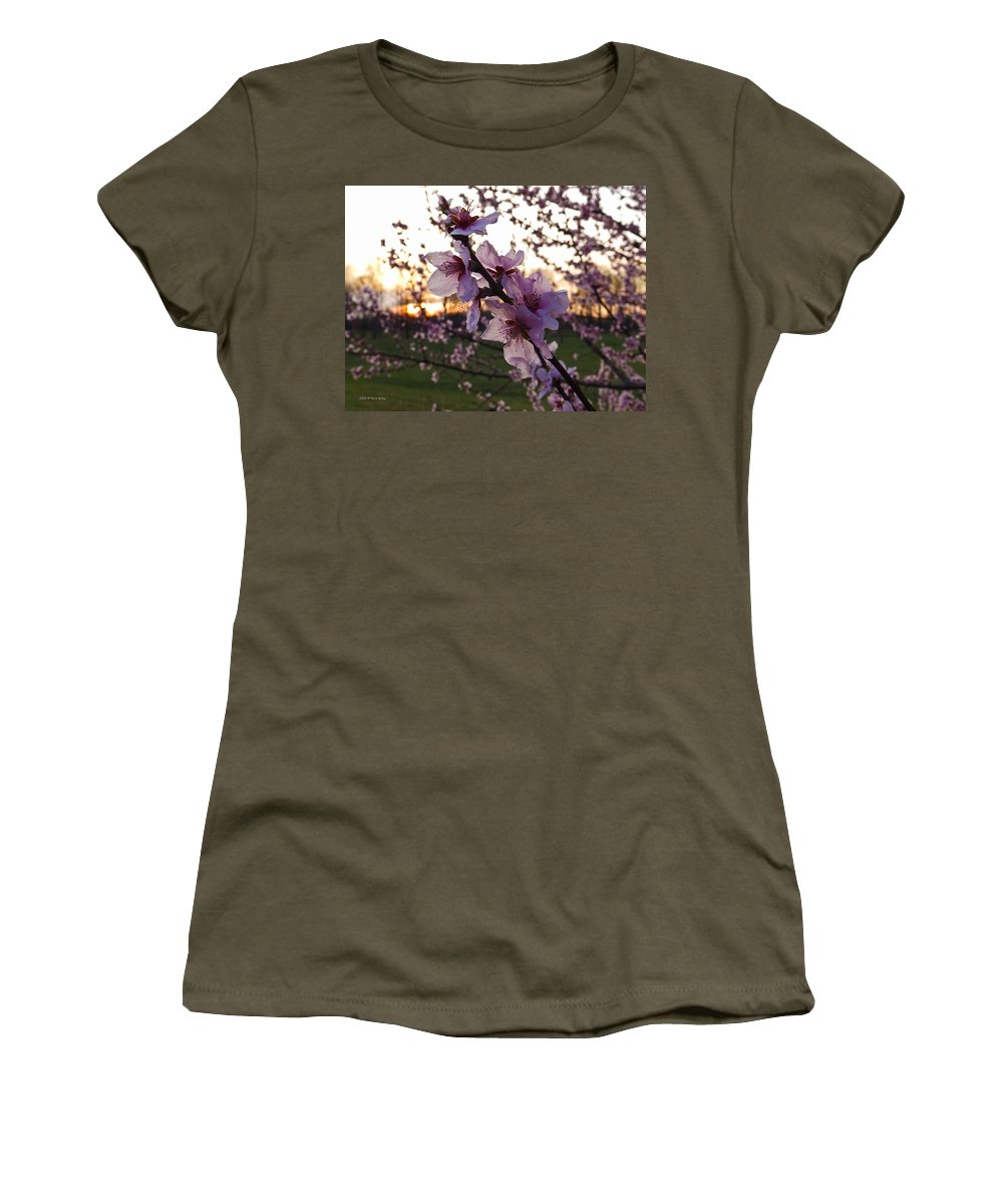 Peach Women's T-Shirt featuring the photograph Peachy Sunset 2014 #2 by Nick Kirby