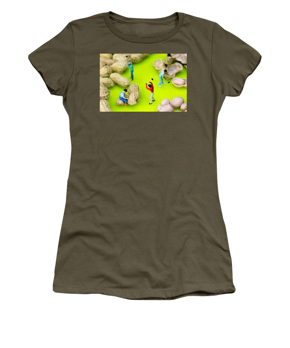 Peanut Women's T-Shirt featuring the photograph Peanut Workers Little People On Food by Paul Ge