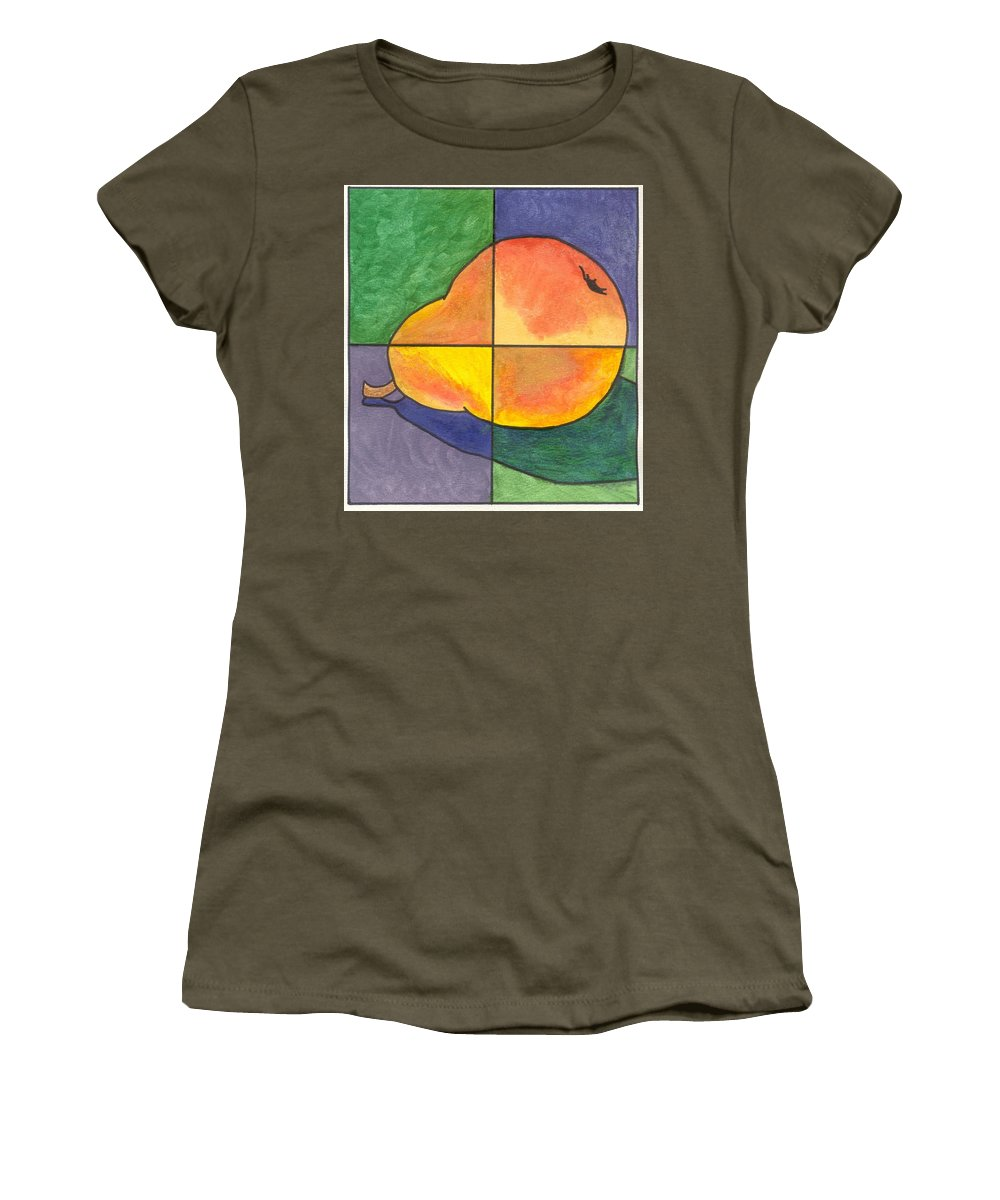 Pear Women's T-Shirt (Athletic Fit) featuring the painting Pear II by Micah Guenther
