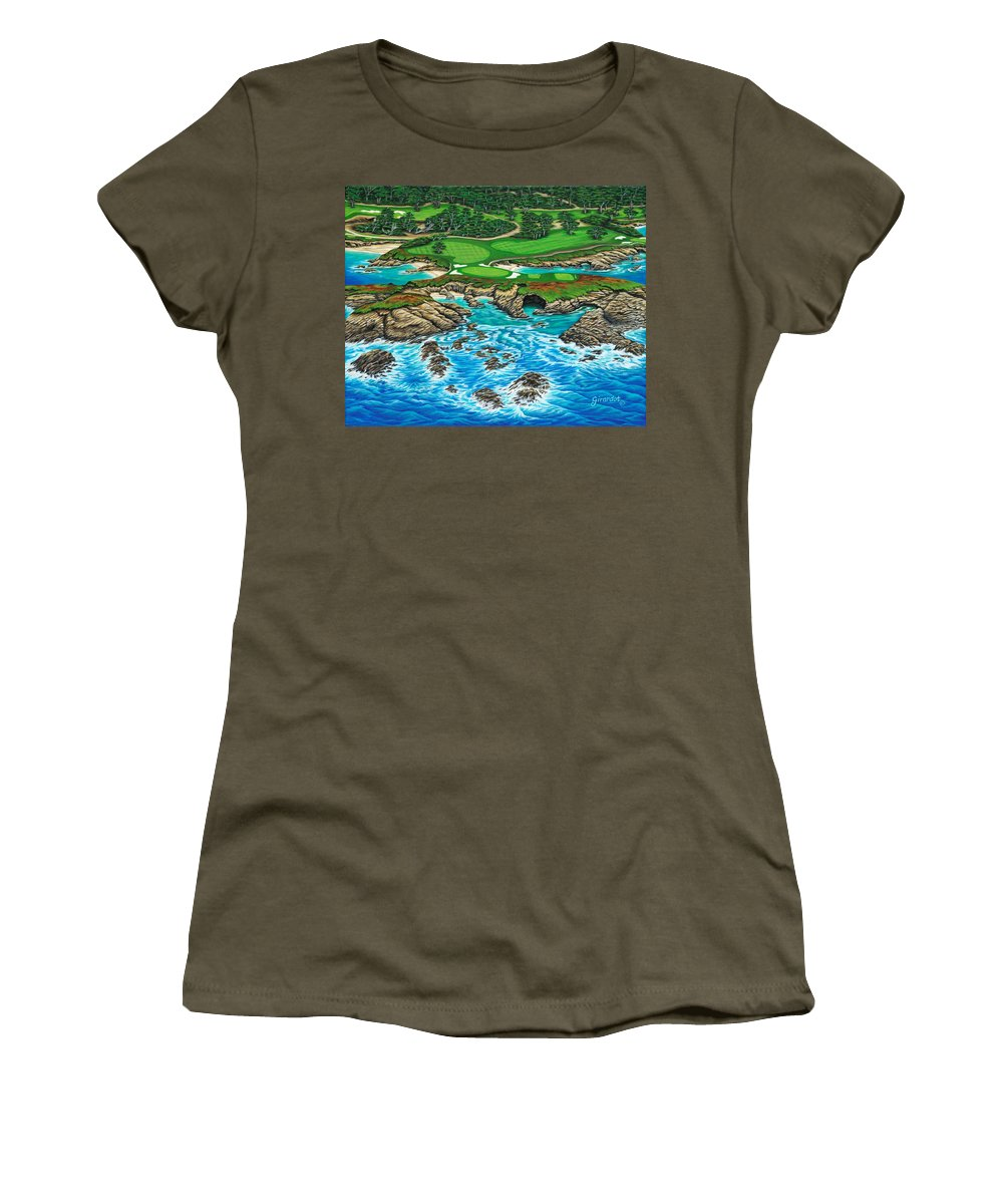 Ocean Women's T-Shirt featuring the painting Pebble Beach 15th Hole-north by Jane Girardot