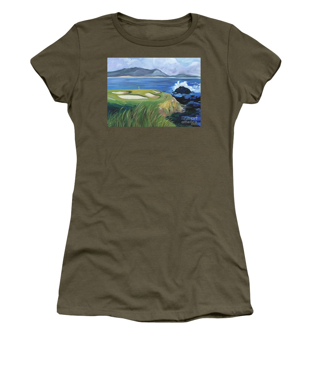 Golf Women's T-Shirt (Athletic Fit) featuring the painting Pebble Beach Scene by Debbie Hart