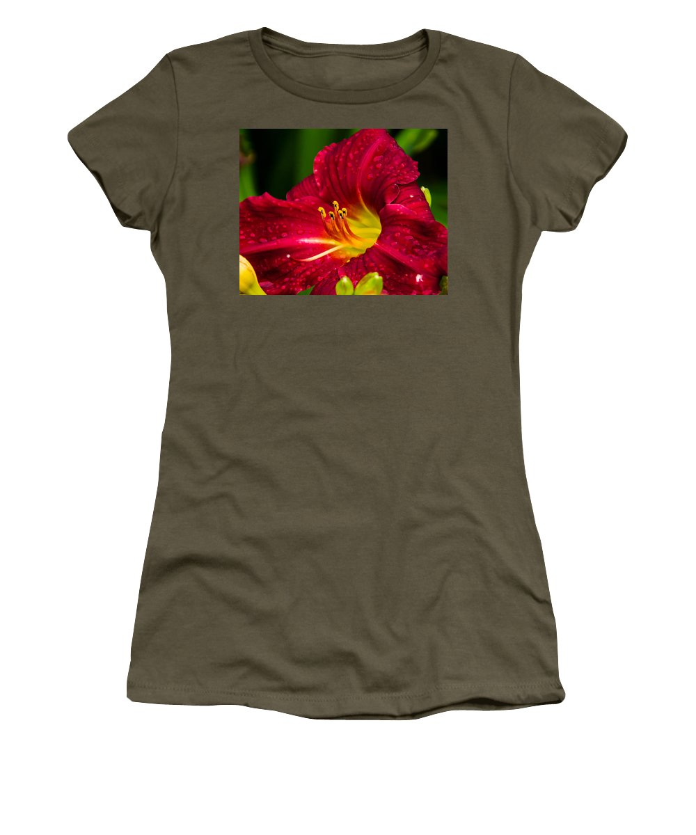 Red Women's T-Shirt (Athletic Fit) featuring the photograph Peek A Boo by Shari Brase-Smith