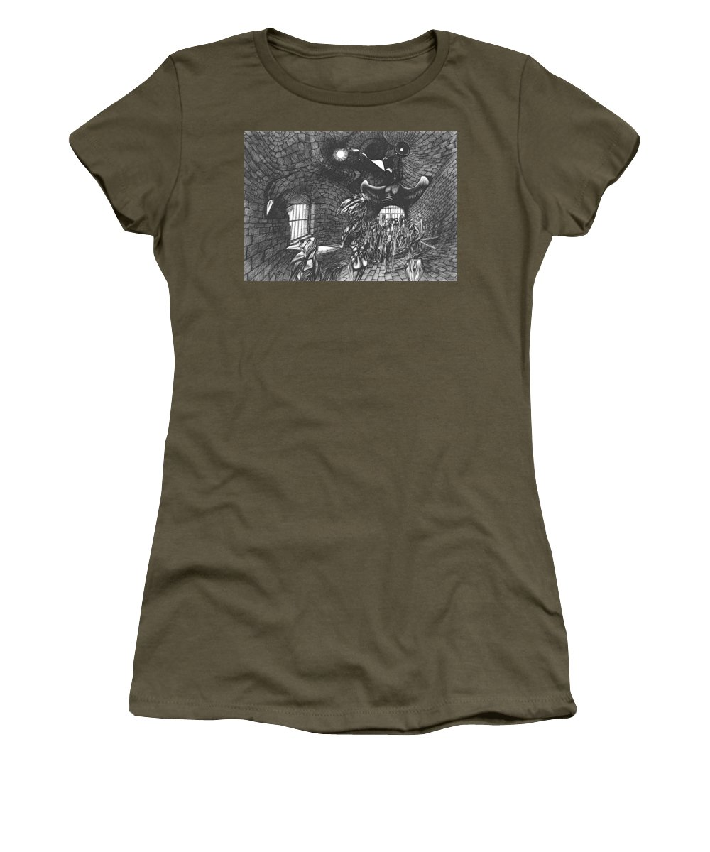 People Women's T-Shirt featuring the drawing Pen And Ink World 5 by Karma Moffett