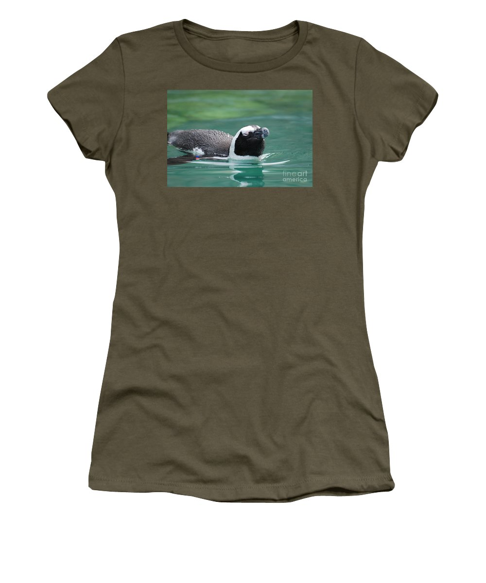 Penguin Women's T-Shirt featuring the photograph Penguin Gliding On Water's Surface by DejaVu Designs