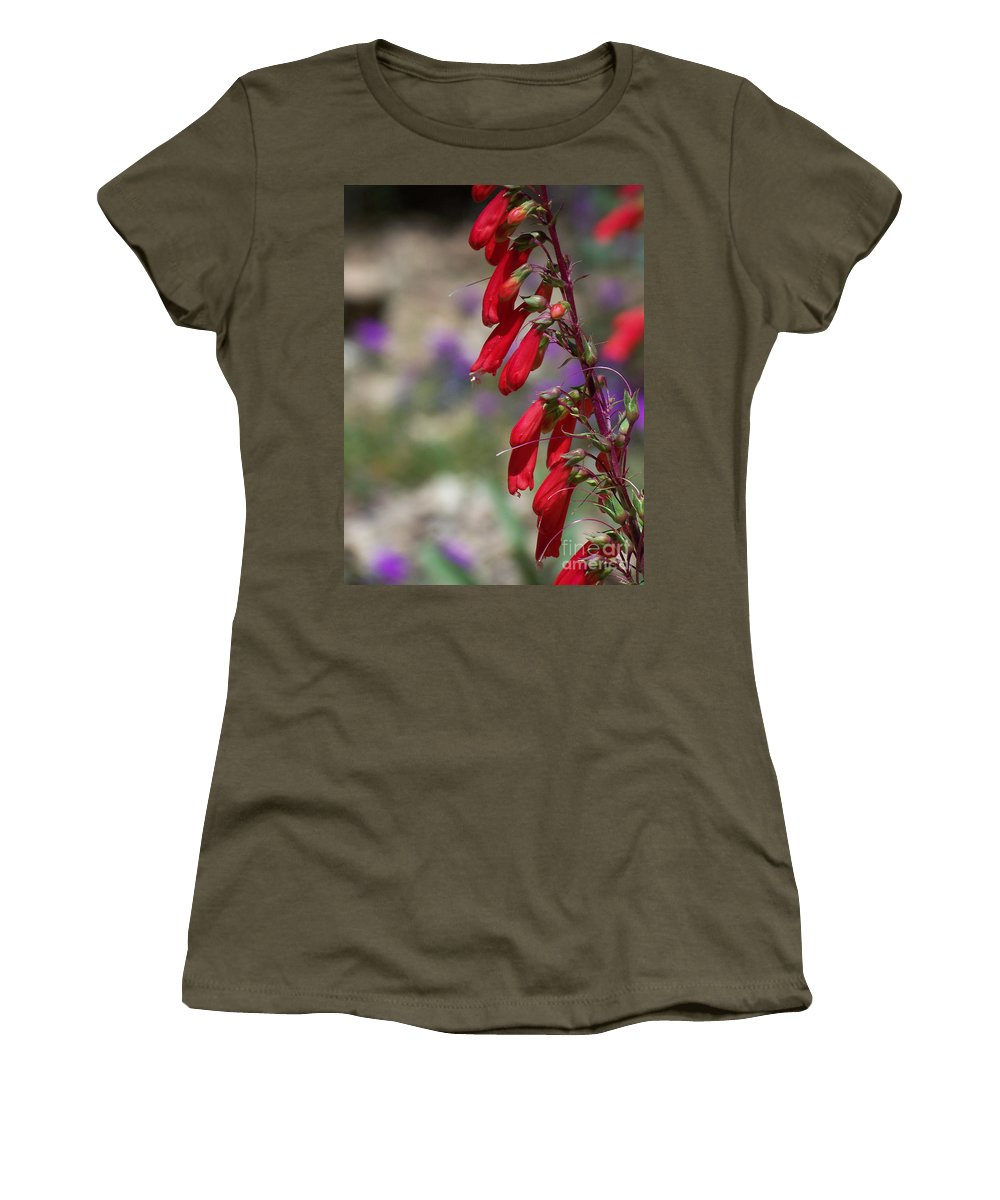 Flowers Women's T-Shirt (Athletic Fit) featuring the photograph Penstemon by Kathy McClure