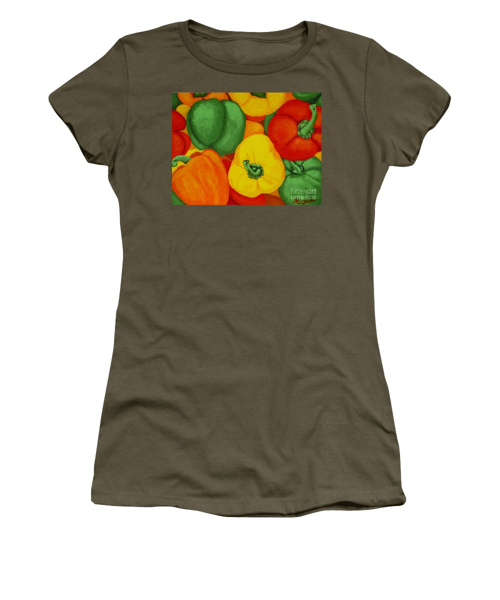 Peppers Women's T-Shirt (Athletic Fit) featuring the painting Peppers by Anthony Dunphy