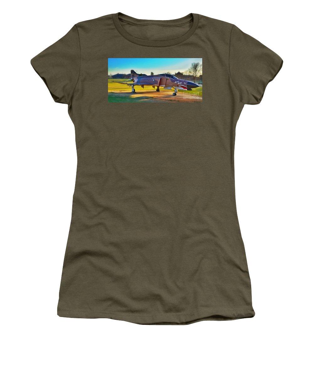 Landscape Women's T-Shirt featuring the photograph Phantom 4 Jet Vietnam Era by Peggy Franz