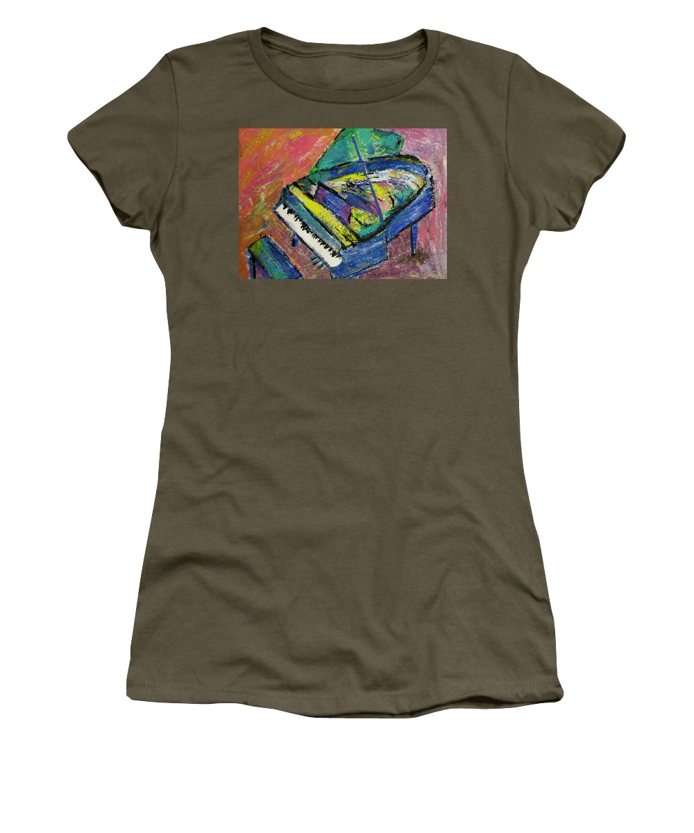 Piano Women's T-Shirt featuring the painting Piano Blue by Anita Burgermeister
