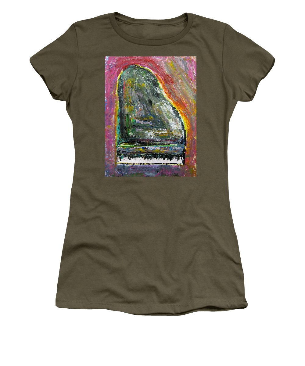 Impressionist Women's T-Shirt featuring the painting Piano Red by Anita Burgermeister