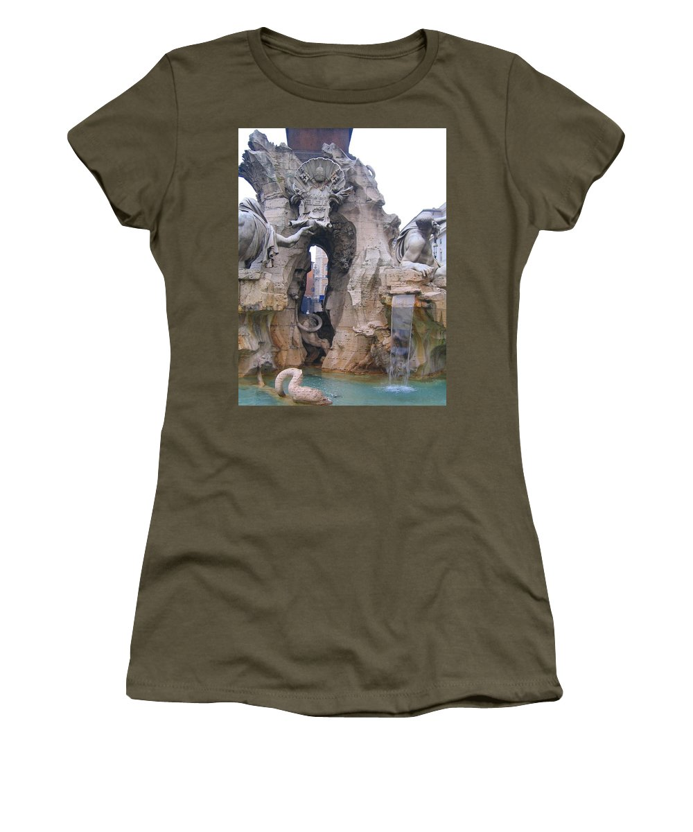 Fourntain Women's T-Shirt (Athletic Fit) featuring the photograph Piazza Navonna by Candee Lucas