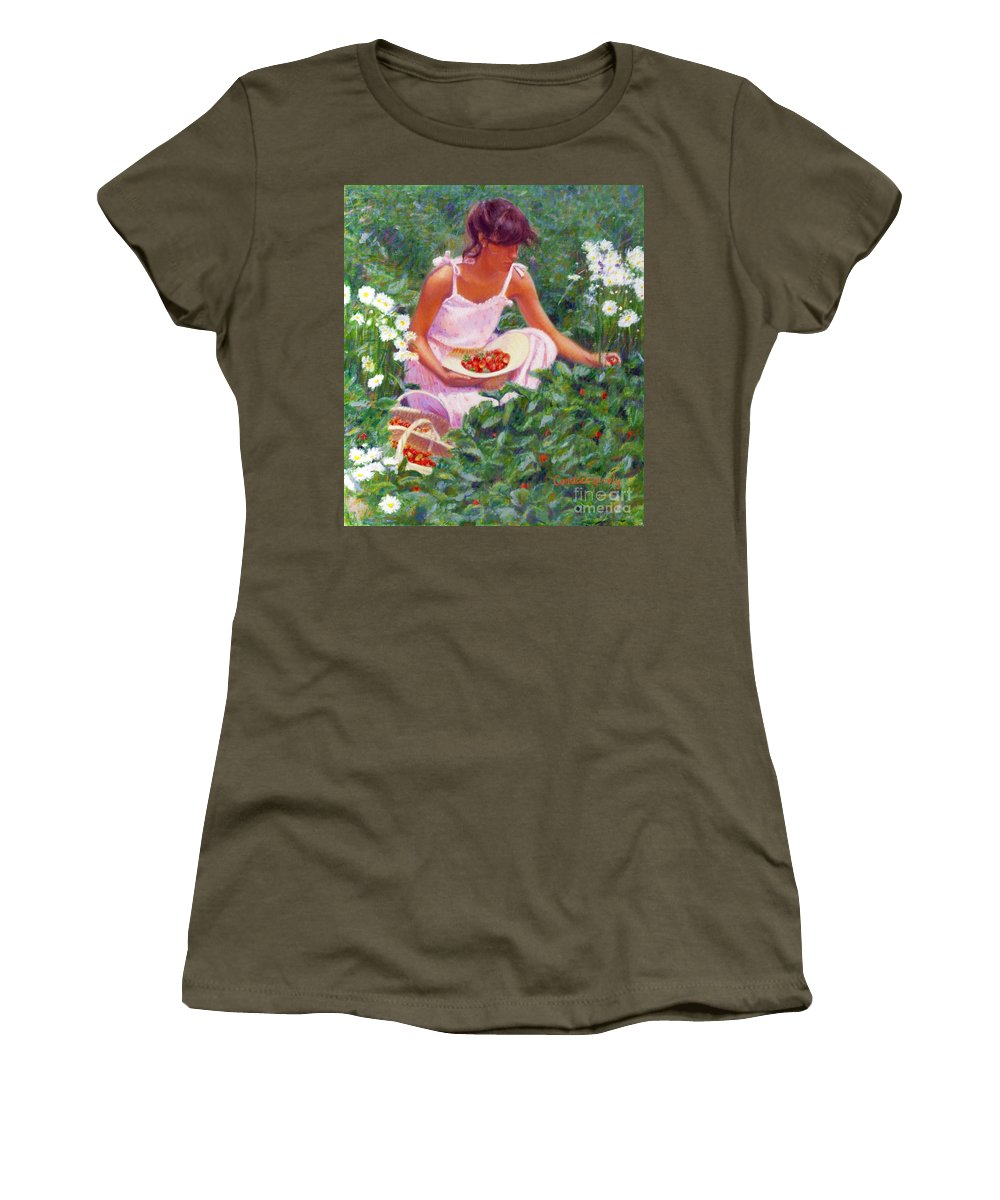 Strawberries Women's T-Shirt featuring the painting Picking Strawberries by Candace Lovely