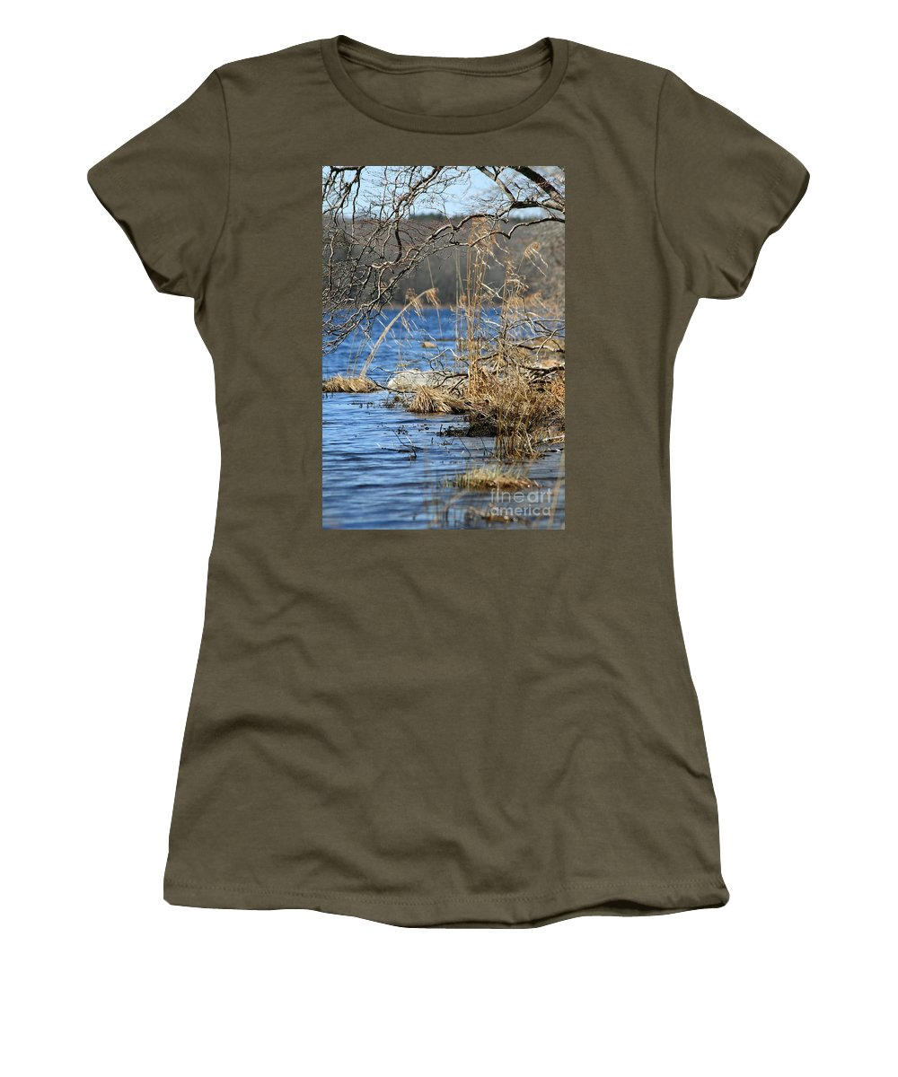 Lake Women's T-Shirt (Athletic Fit) featuring the photograph Pine Acres Lake Blues by Neal Eslinger