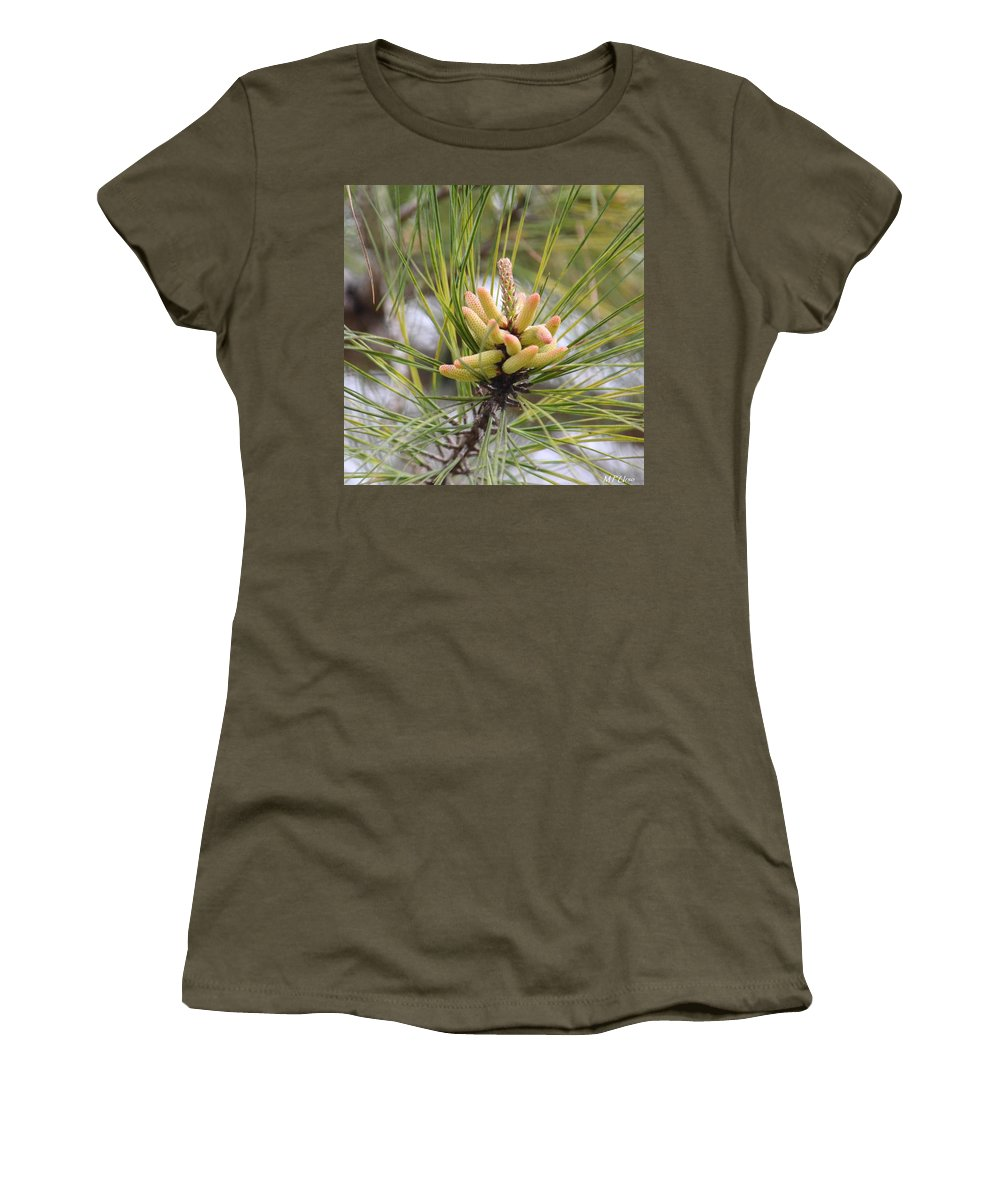 Pine Catkins Women's T-Shirt (Athletic Fit) featuring the photograph Pine Catkins by Maria Urso