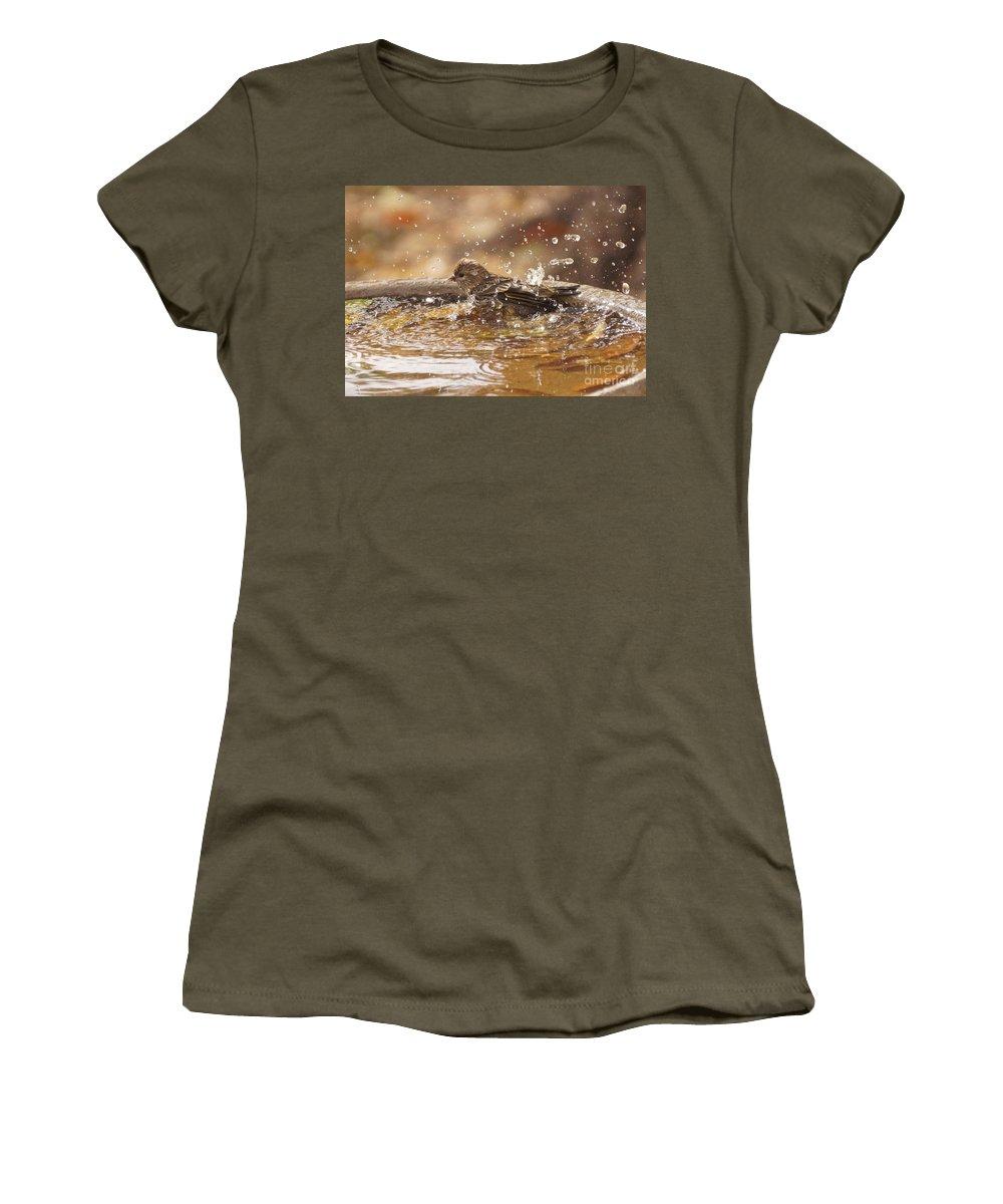 Pine Siskin Women's T-Shirt featuring the photograph Pine Siskin by Lori Tordsen