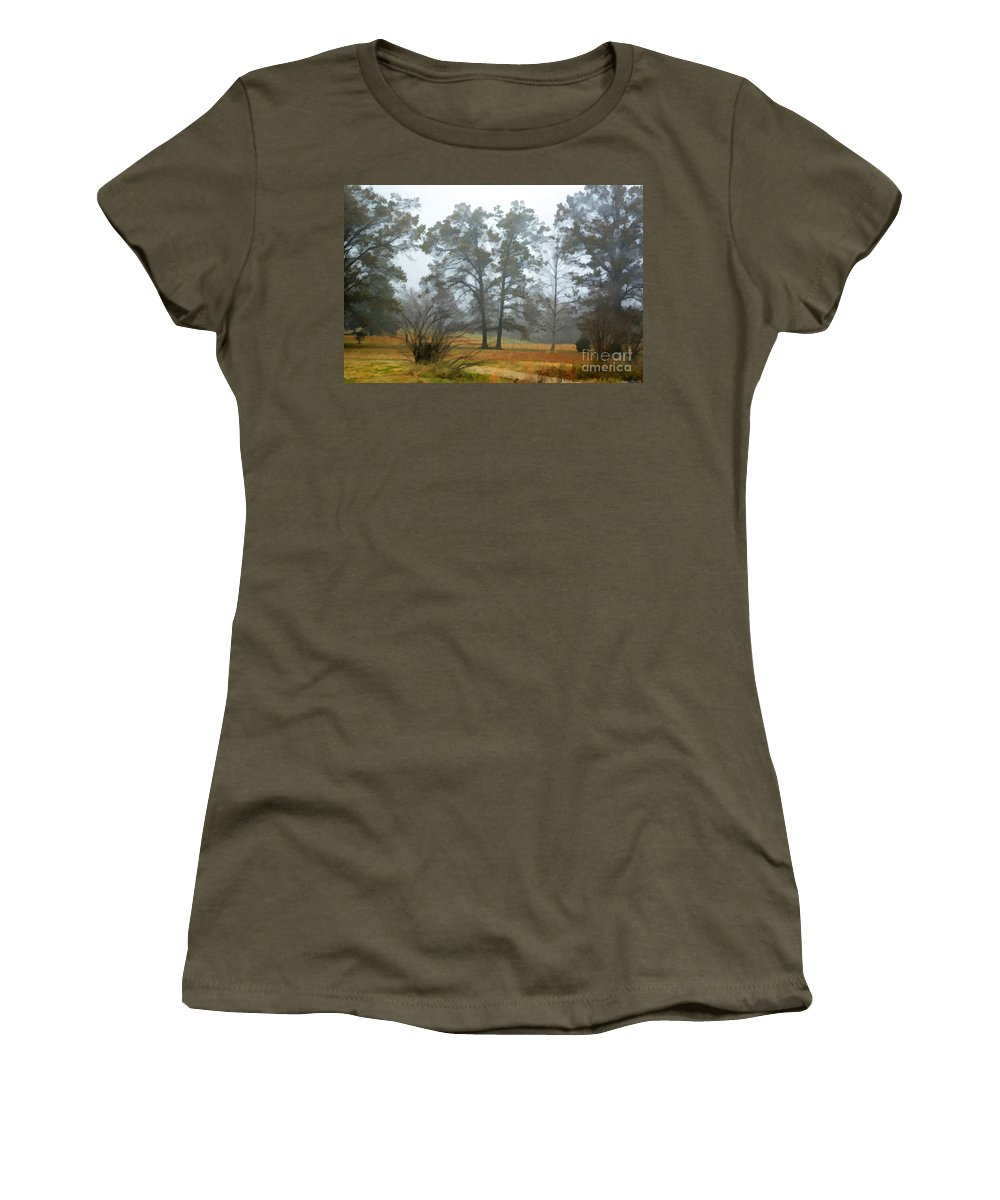 Mist Women's T-Shirt featuring the photograph Pine Trees In Mist - Digital Paint 1 by Debbie Portwood