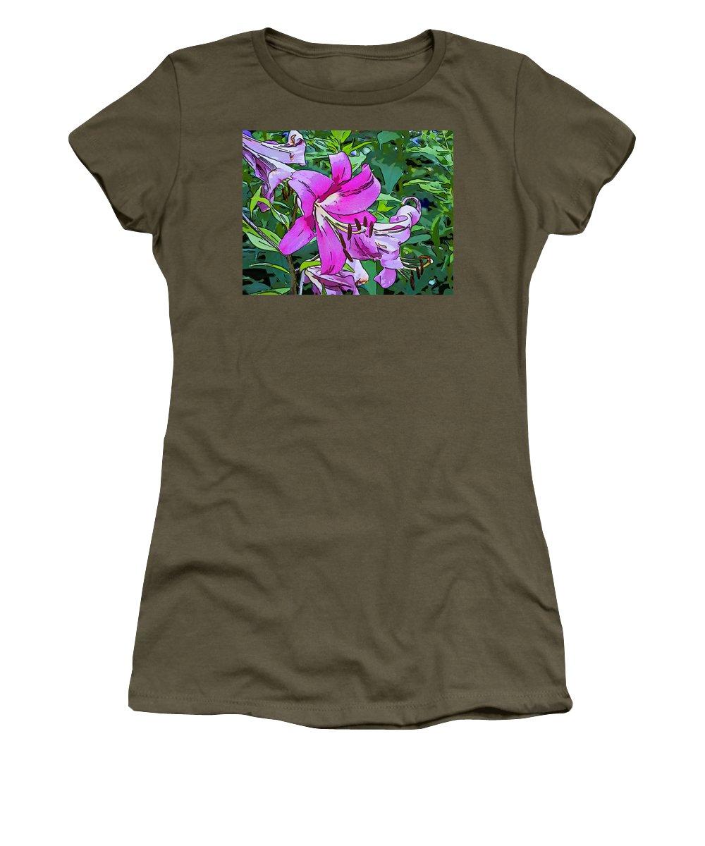 Steve Harrington Women's T-Shirt featuring the photograph Pink And Sassy...line Art by Steve Harrington