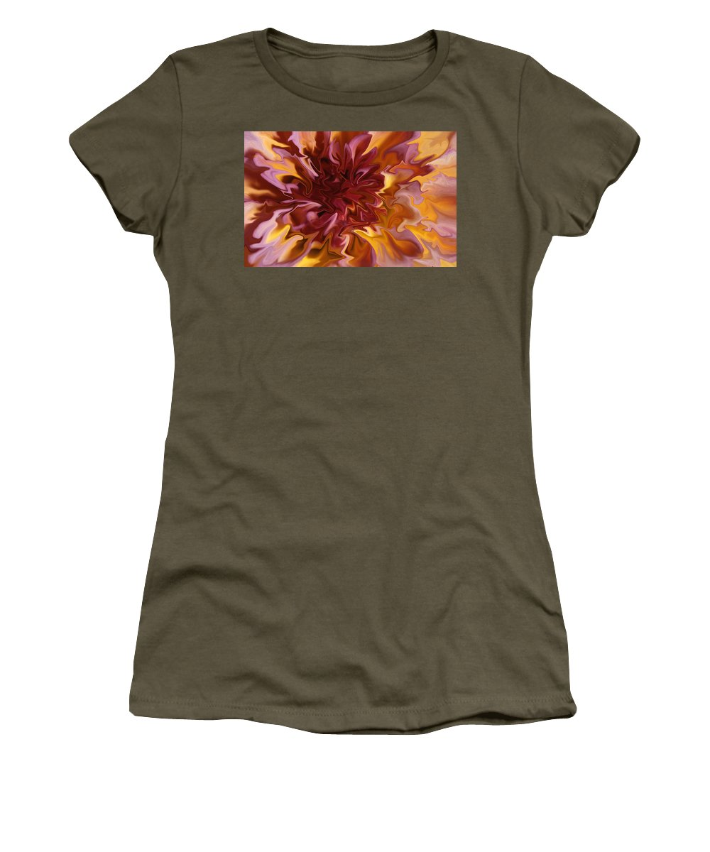 Abstract Women's T-Shirt featuring the photograph Pink And Yellow Fantasy 1 by Ana Gonzalez