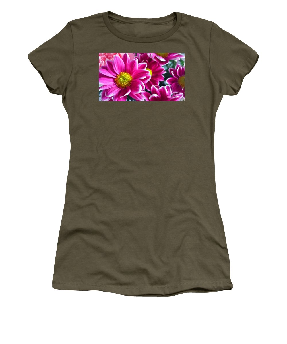 Pink Women's T-Shirt featuring the photograph Pink Daisies by Lisa Byrne
