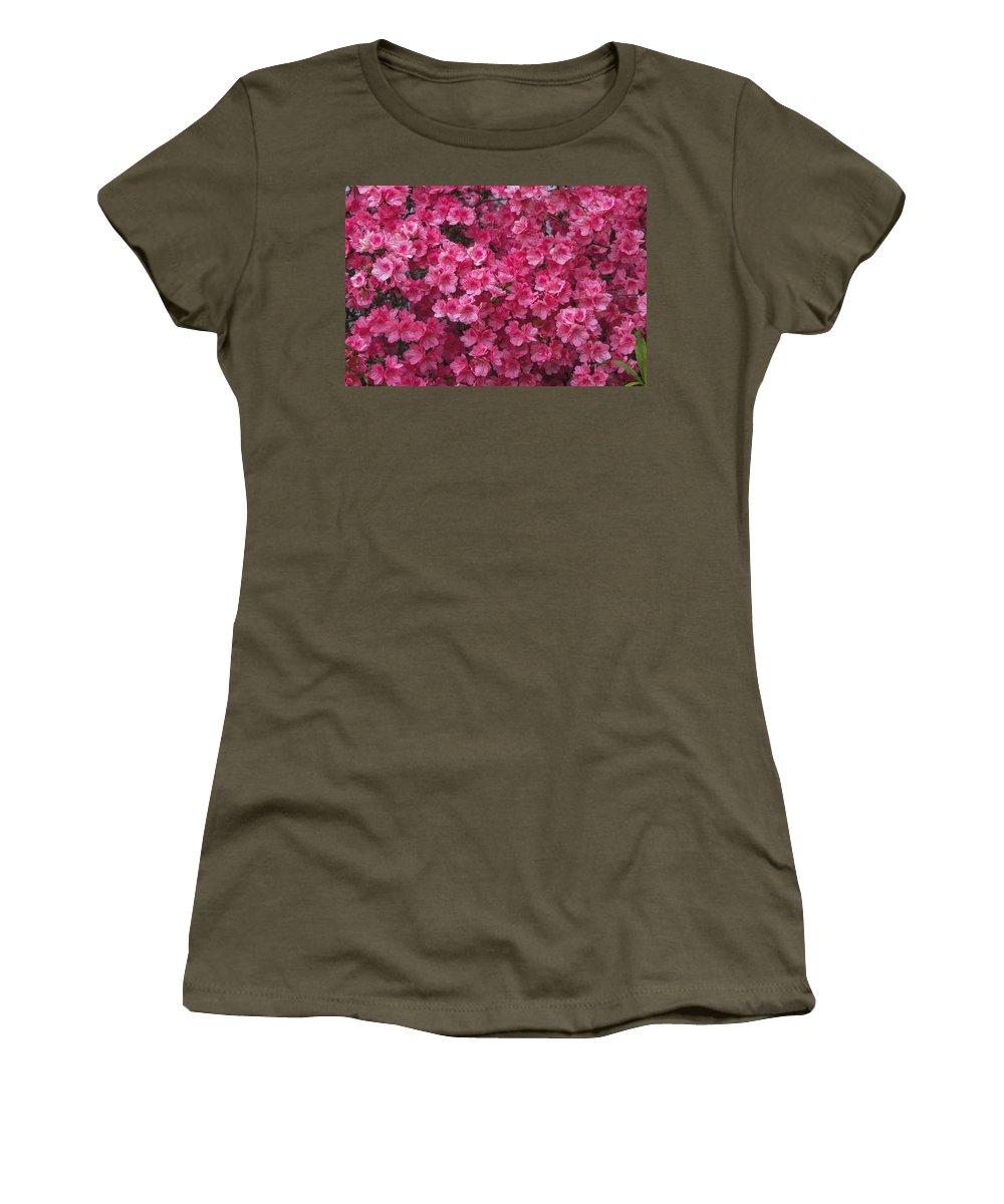 Azalea Women's T-Shirt featuring the photograph Pink Full Frame Azalea Blossoms by Kathy Clark