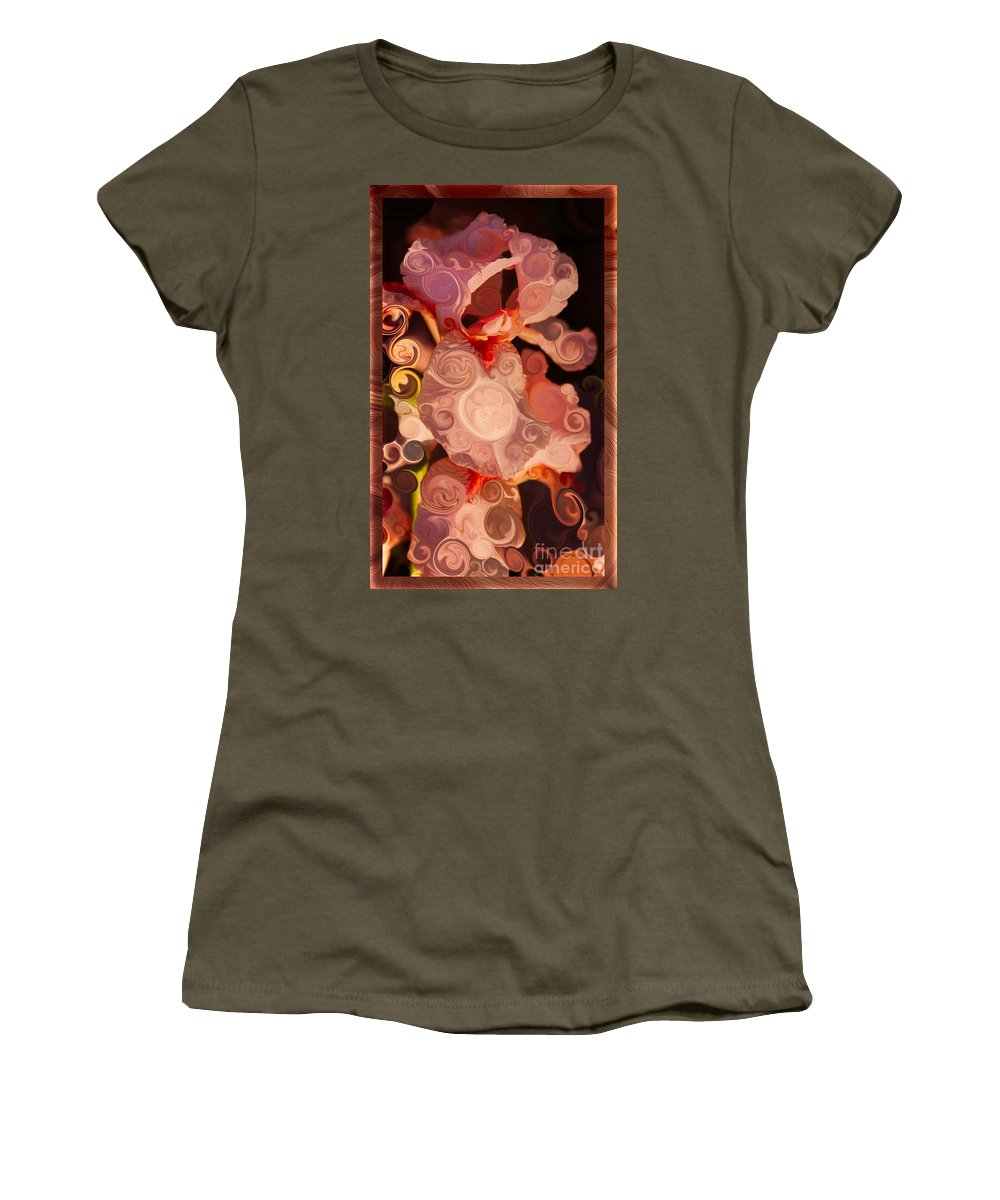 Pink Iris As A Burst Of Color Women's T-Shirt featuring the painting Pink Iris As A Burst Of Color Flower Abstract Art by Omaste Witkowski
