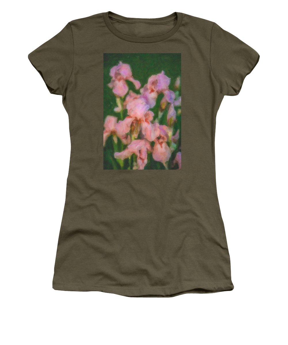 North Cascades Women's T-Shirt featuring the painting Pink Iris Family by Omaste Witkowski