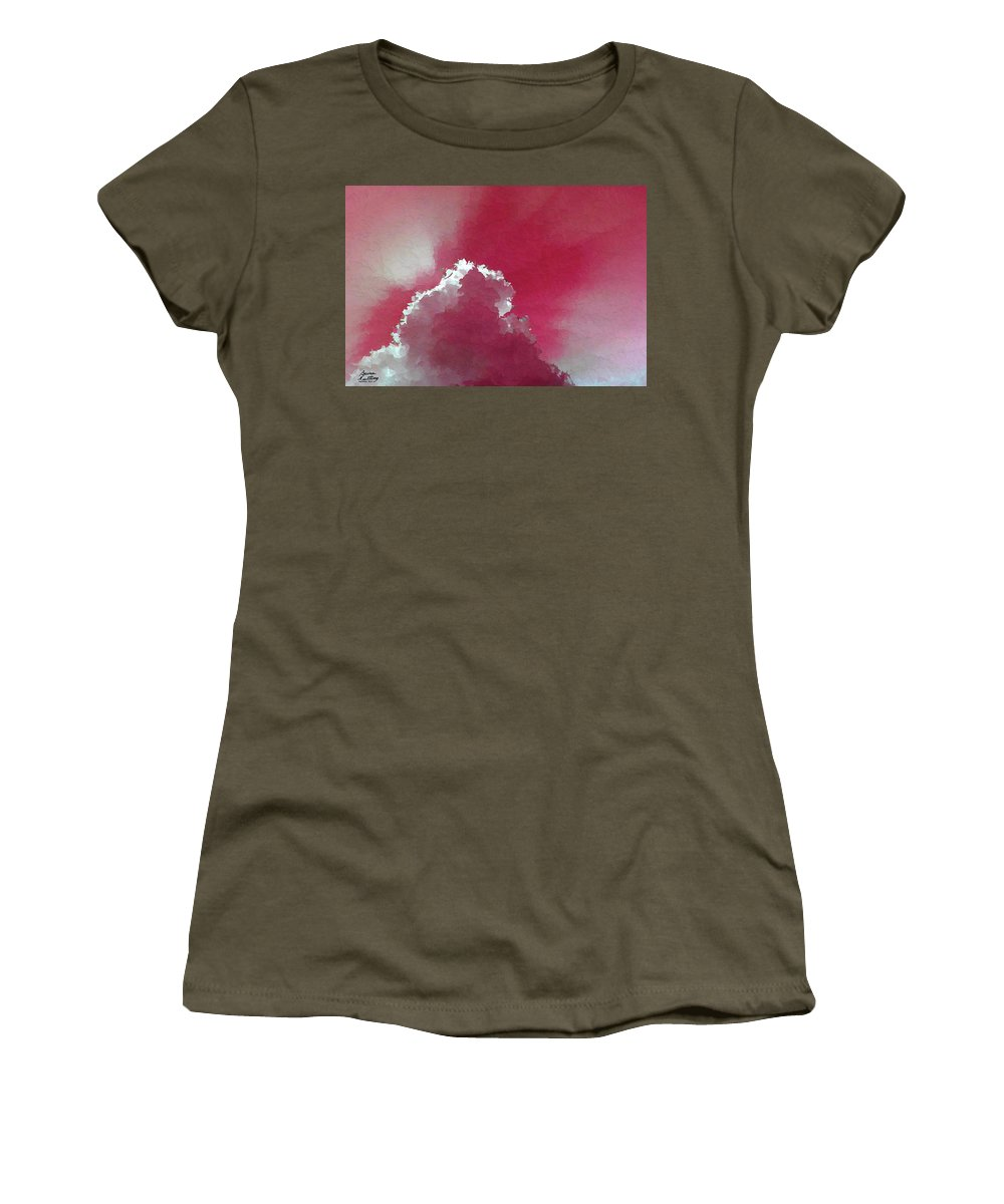 Pink Women's T-Shirt featuring the painting Pink Sk With A Cloud by Bruce Nutting