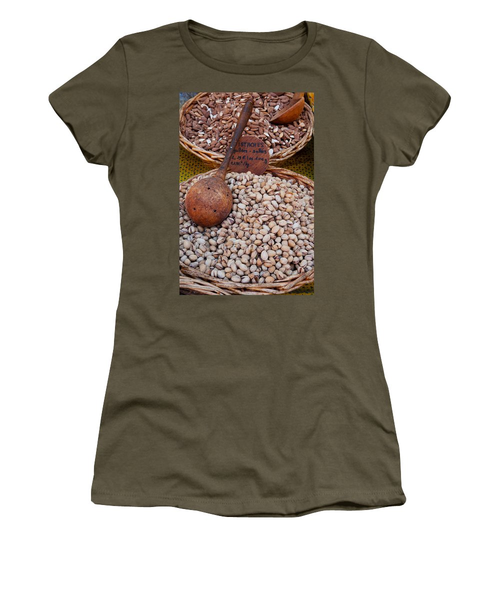 Photography Women's T-Shirt featuring the photograph Pistachios For Sale At Weekly Market by Panoramic Images