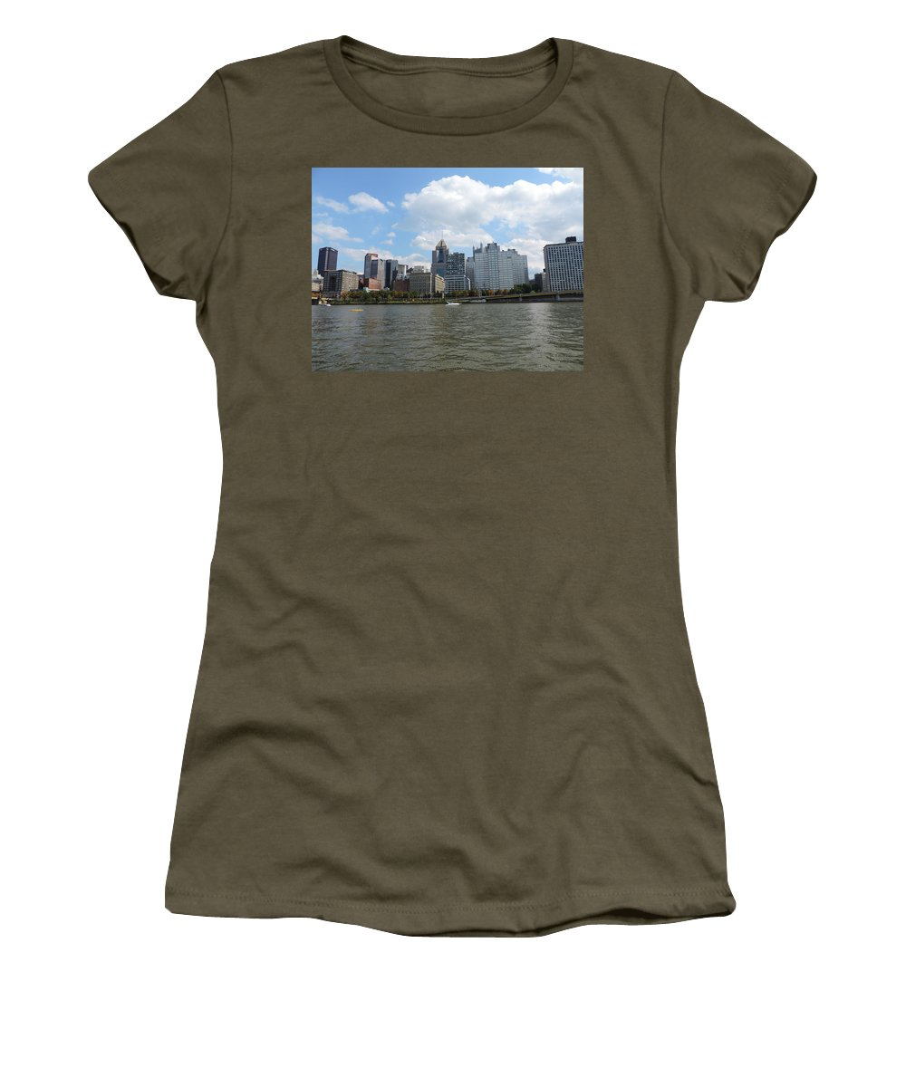 City Women's T-Shirt featuring the photograph Pittsburgh Skyline From The Waterfront by Cityscape Photography