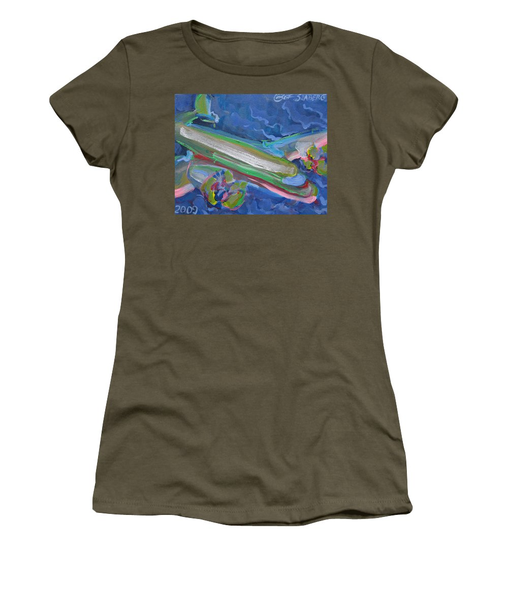 Airplane Women's T-Shirt featuring the painting Plane Colorful by Jeff Seaberg