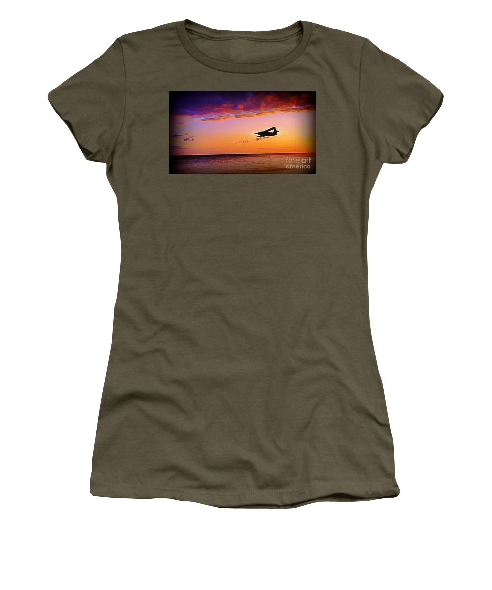 Plane Women's T-Shirt featuring the painting Plane Pass At Sunset by John Malone