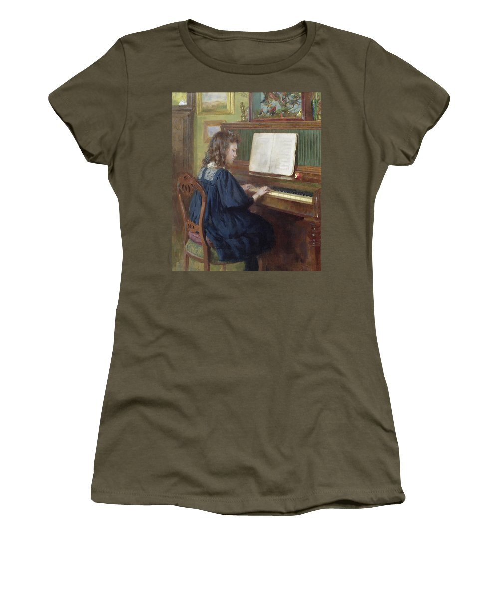 Playing The Piano Women's T-Shirt featuring the painting Playing The Piano by Ernest Higgins Rigg