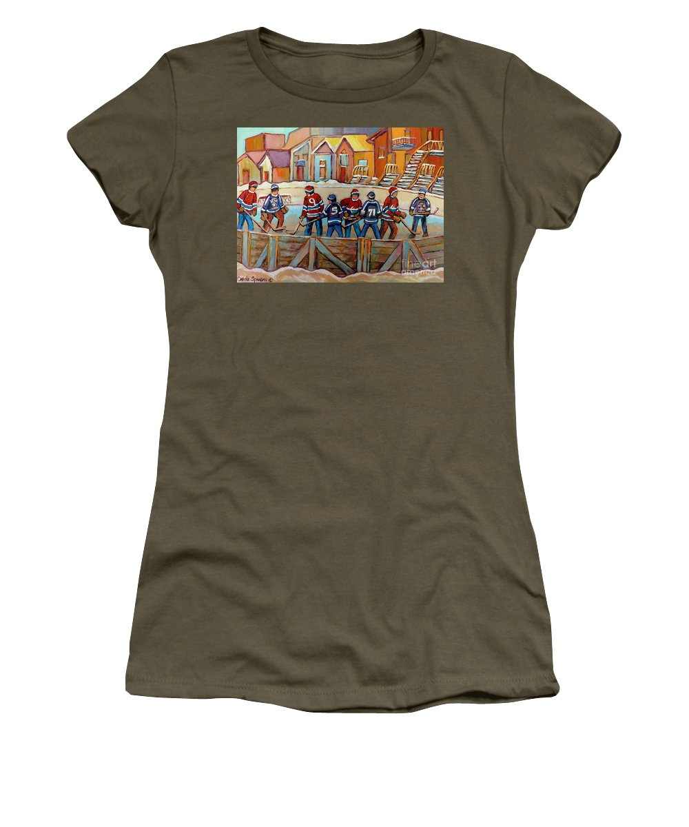 Montreal Women's T-Shirt (Athletic Fit) featuring the painting Pointe St. Charles Hockey Rinks Near Row Houses Montreal Winter City Scenes by Carole Spandau